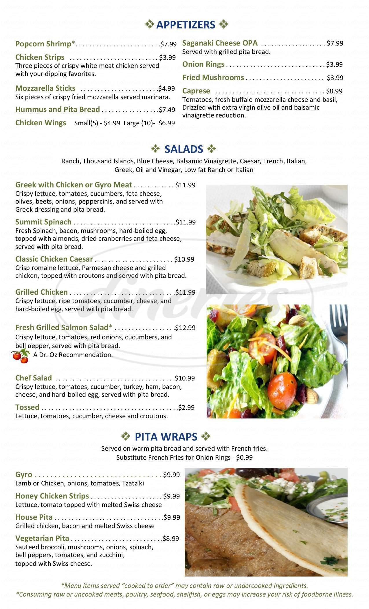 menu for Summit Diner