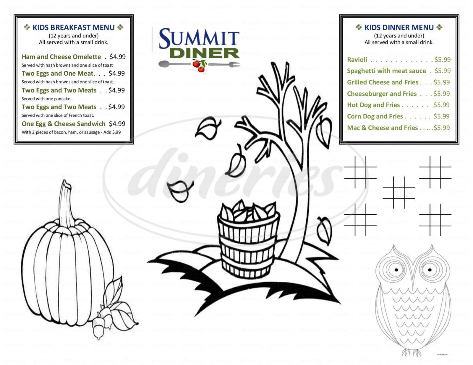 menu for Summit Diner