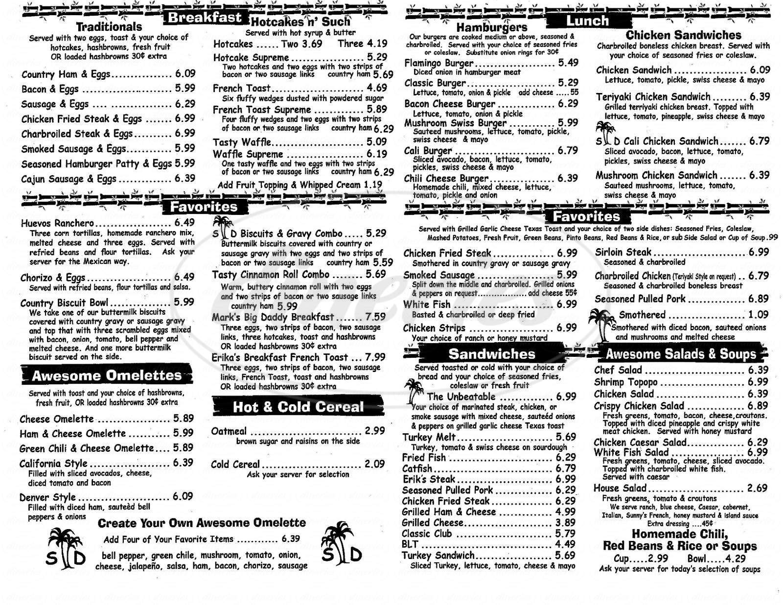 menu for Sunny Daze Cafe