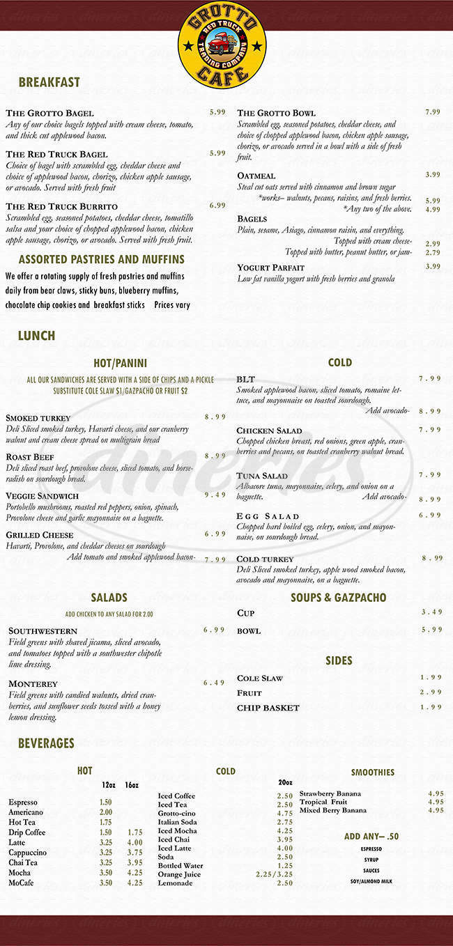 menu for Grotto Cafe