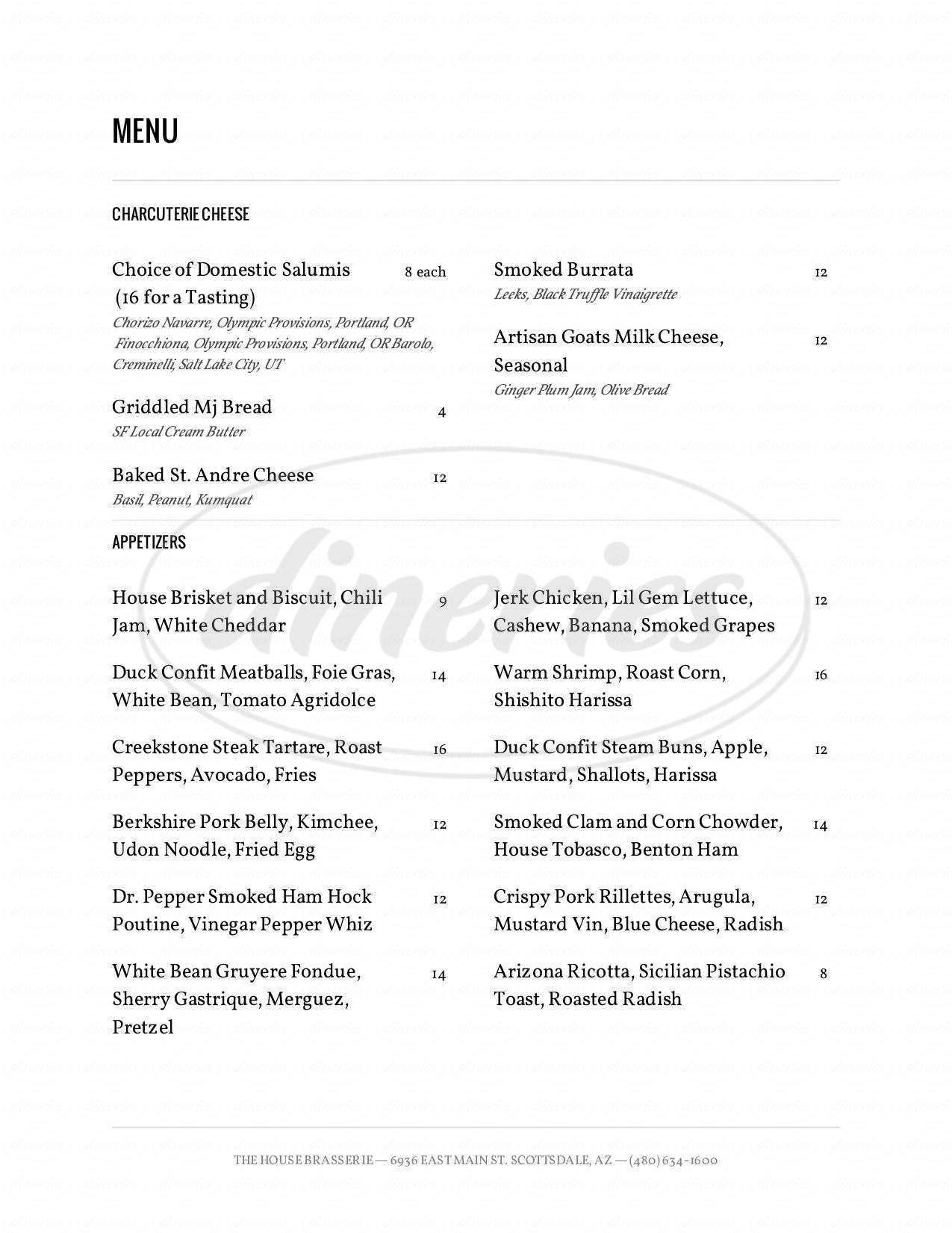 menu for The House Brasserie