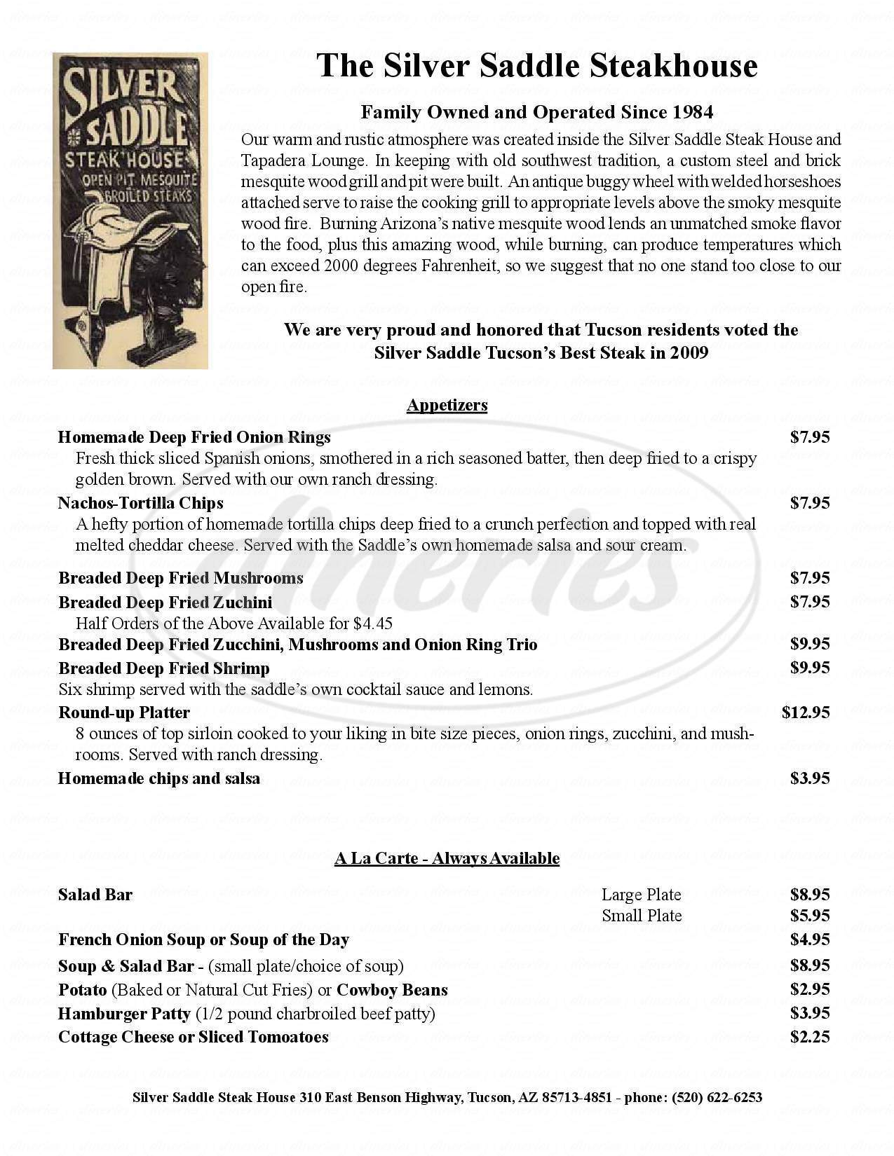 menu for Silver Saddle Steakhouse