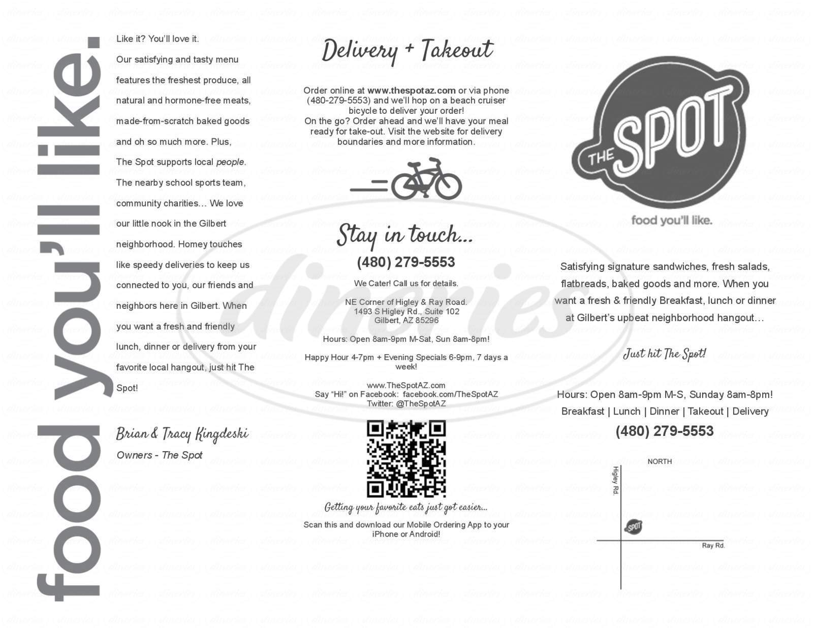 menu for The Spot