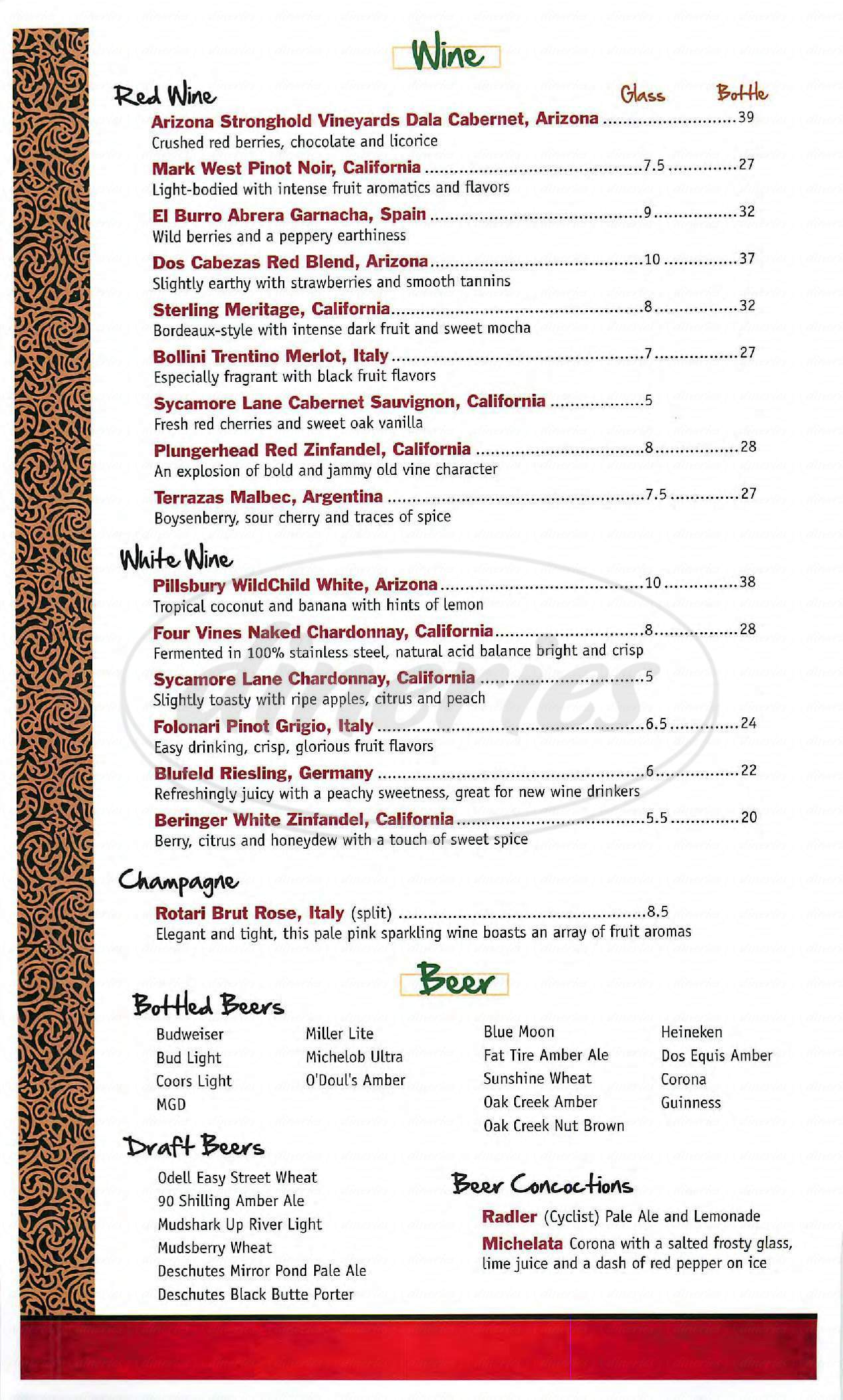 menu for The Tavern Grille