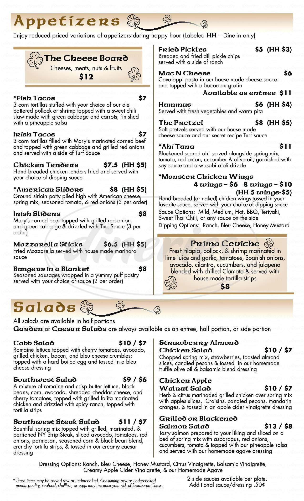 menu for The Turf