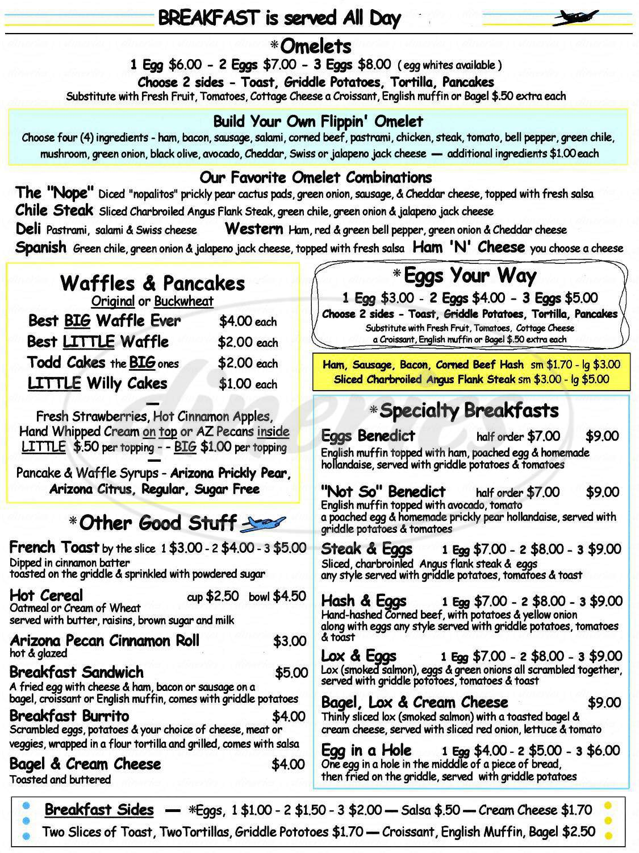 menu for Todd's Restaurant