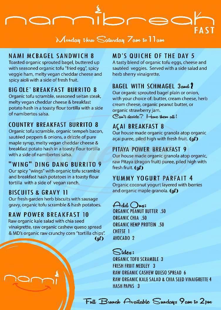 menu for Nami