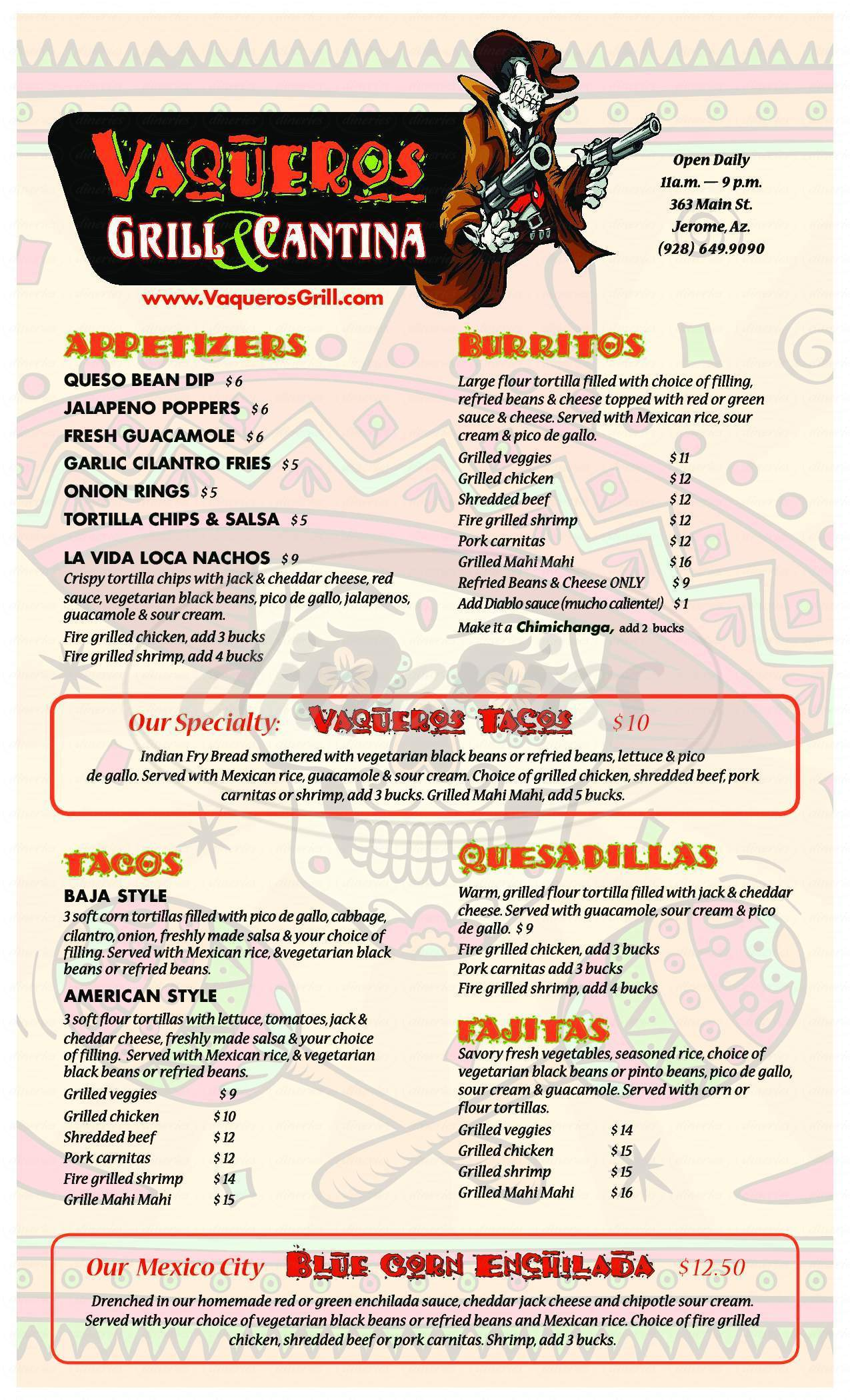 menu for Vaqueros Grill & Cantina