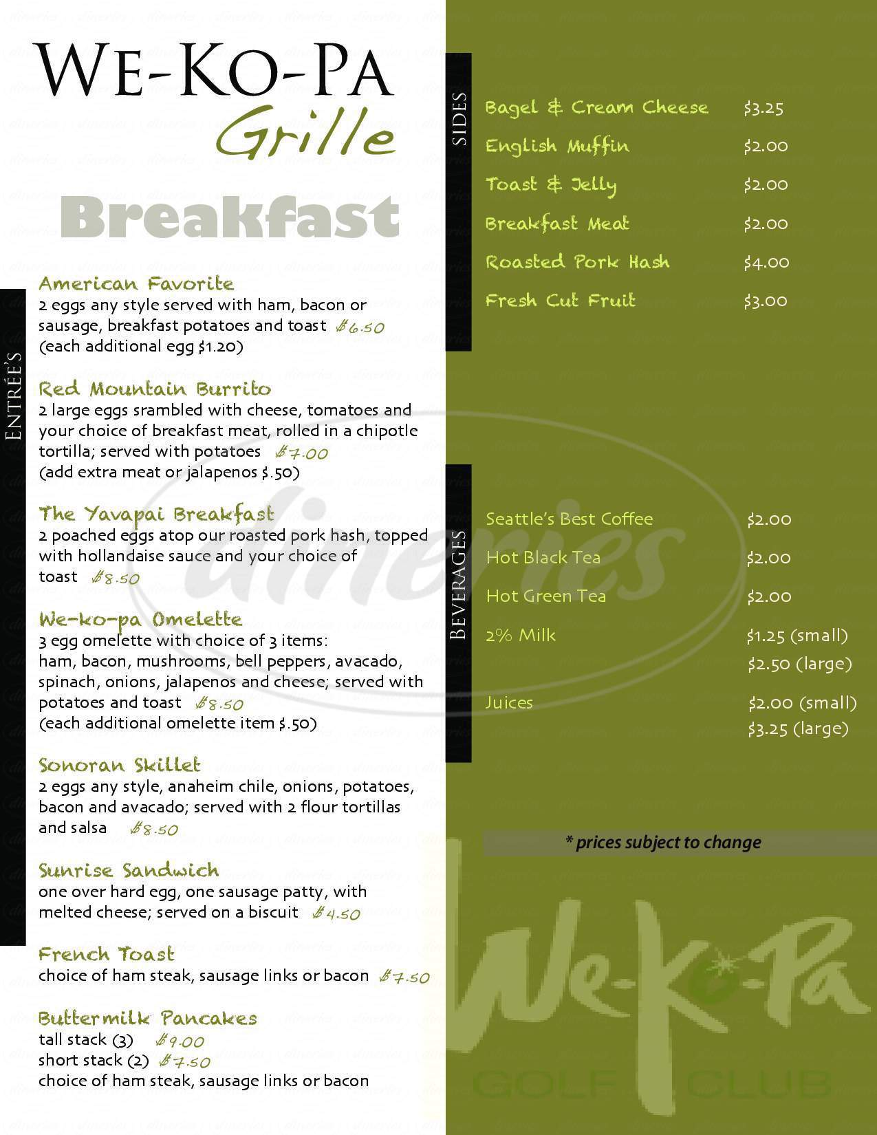 menu for We Ko PA Grille