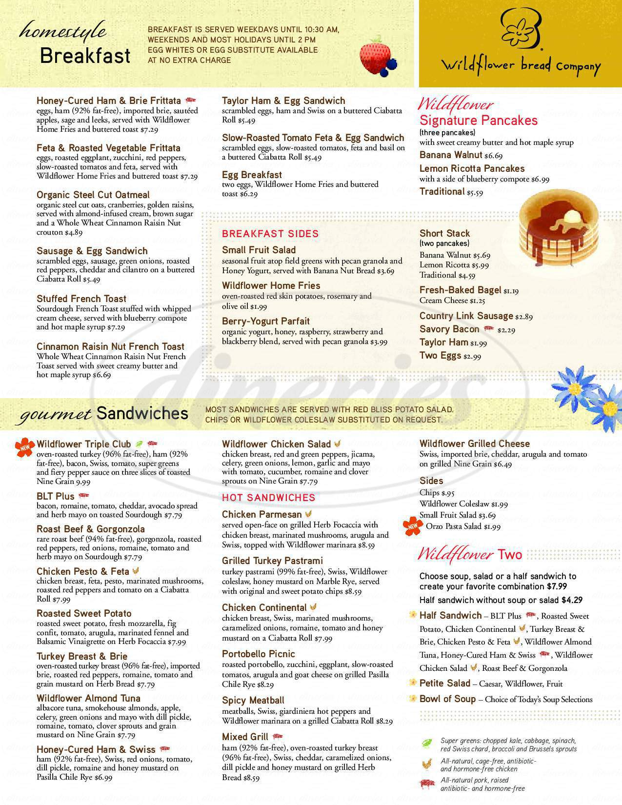 menu for Wildflower Bread Company