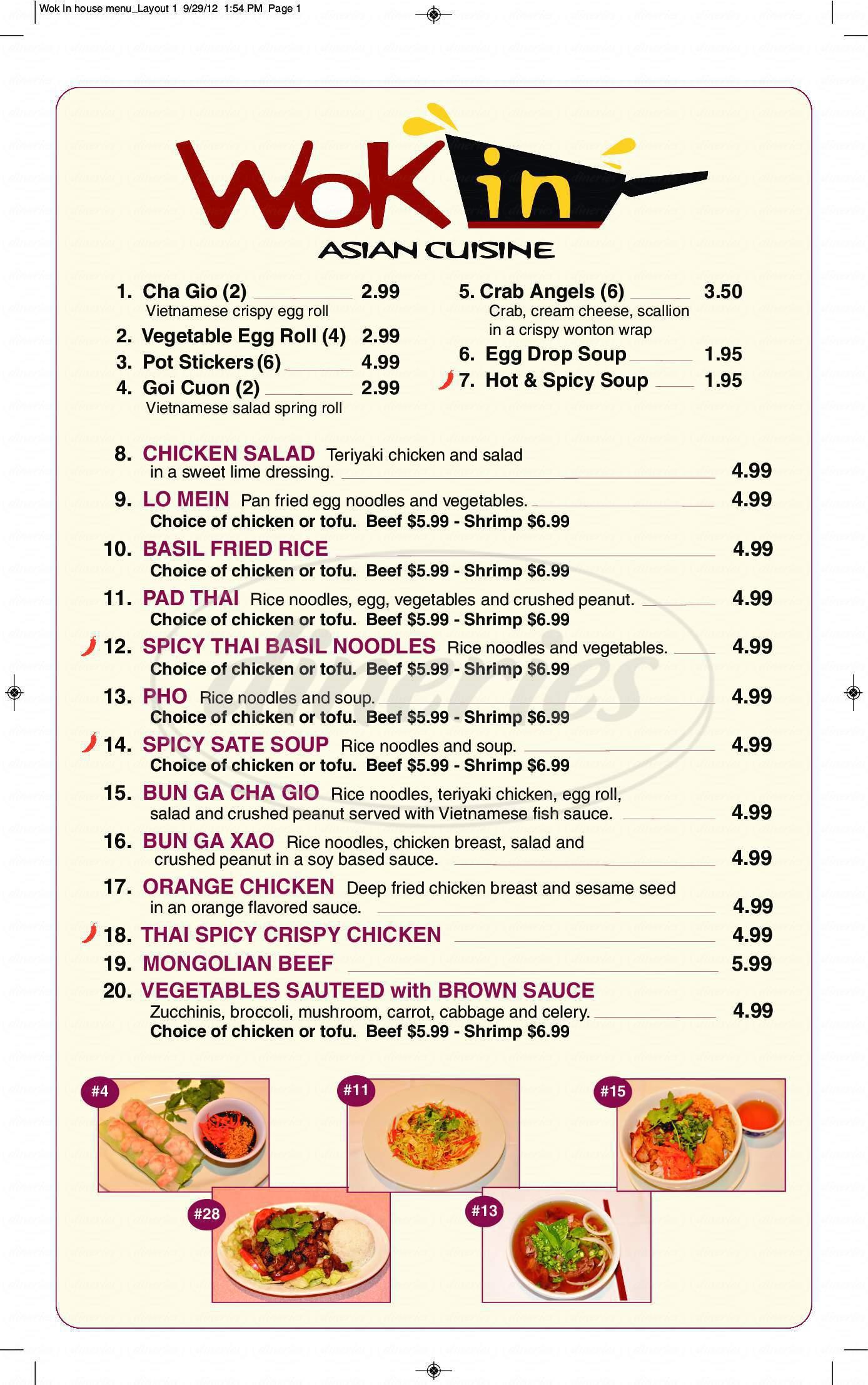 menu for Wok In