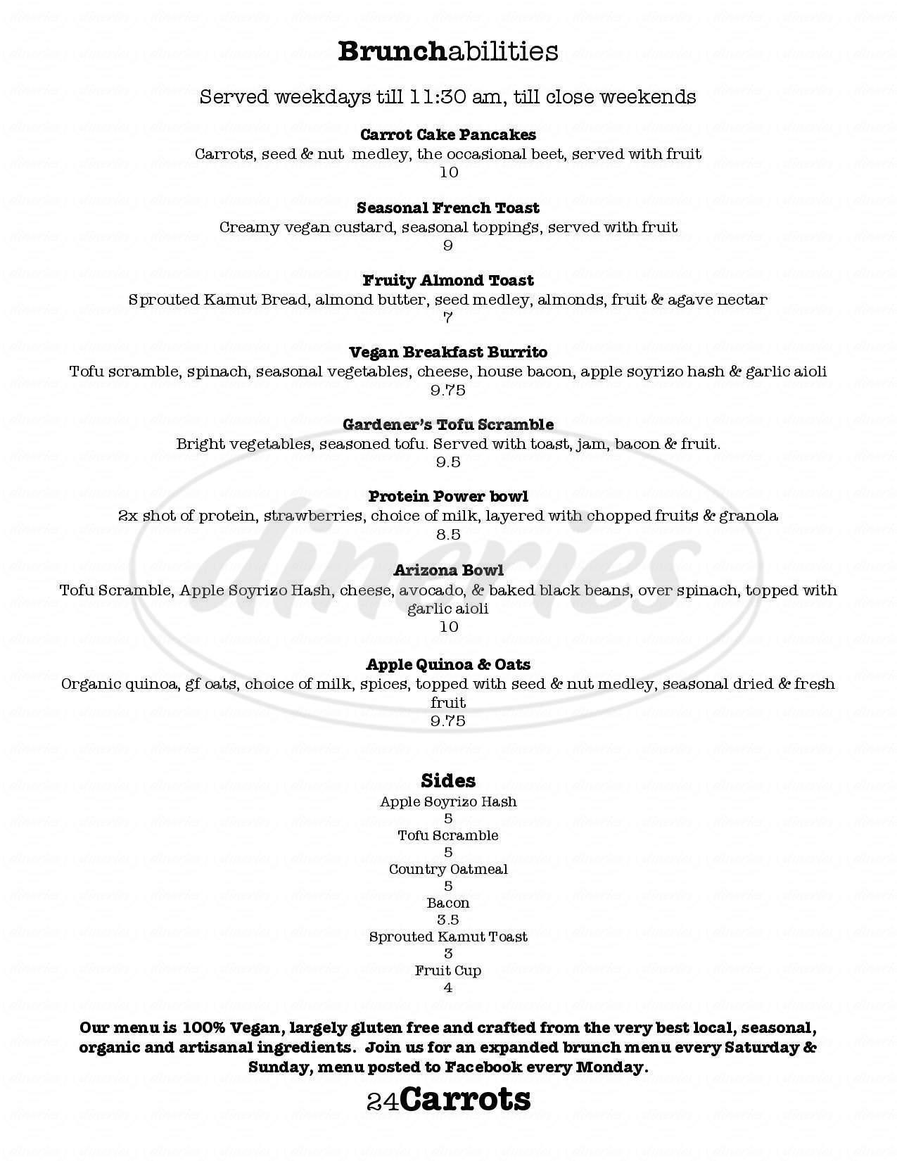 menu for 24 Carrots Juice Bar & Cafe