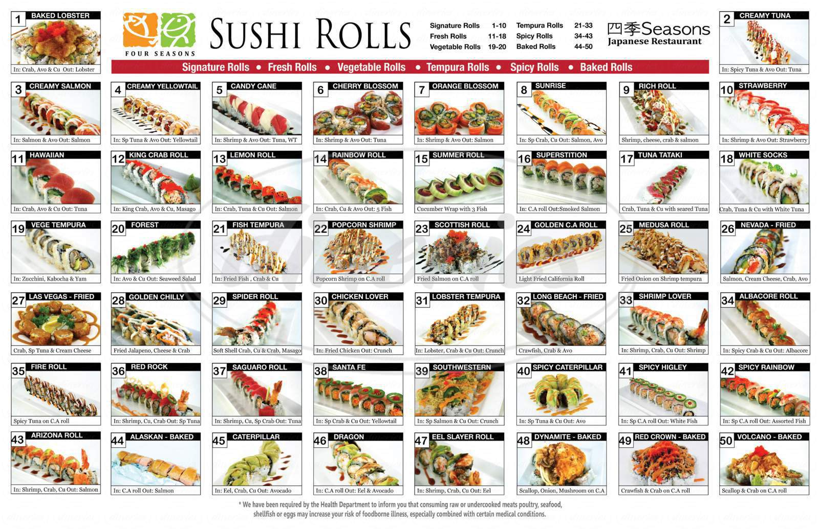 menu for Four Seasons Sushi Bar & Grill