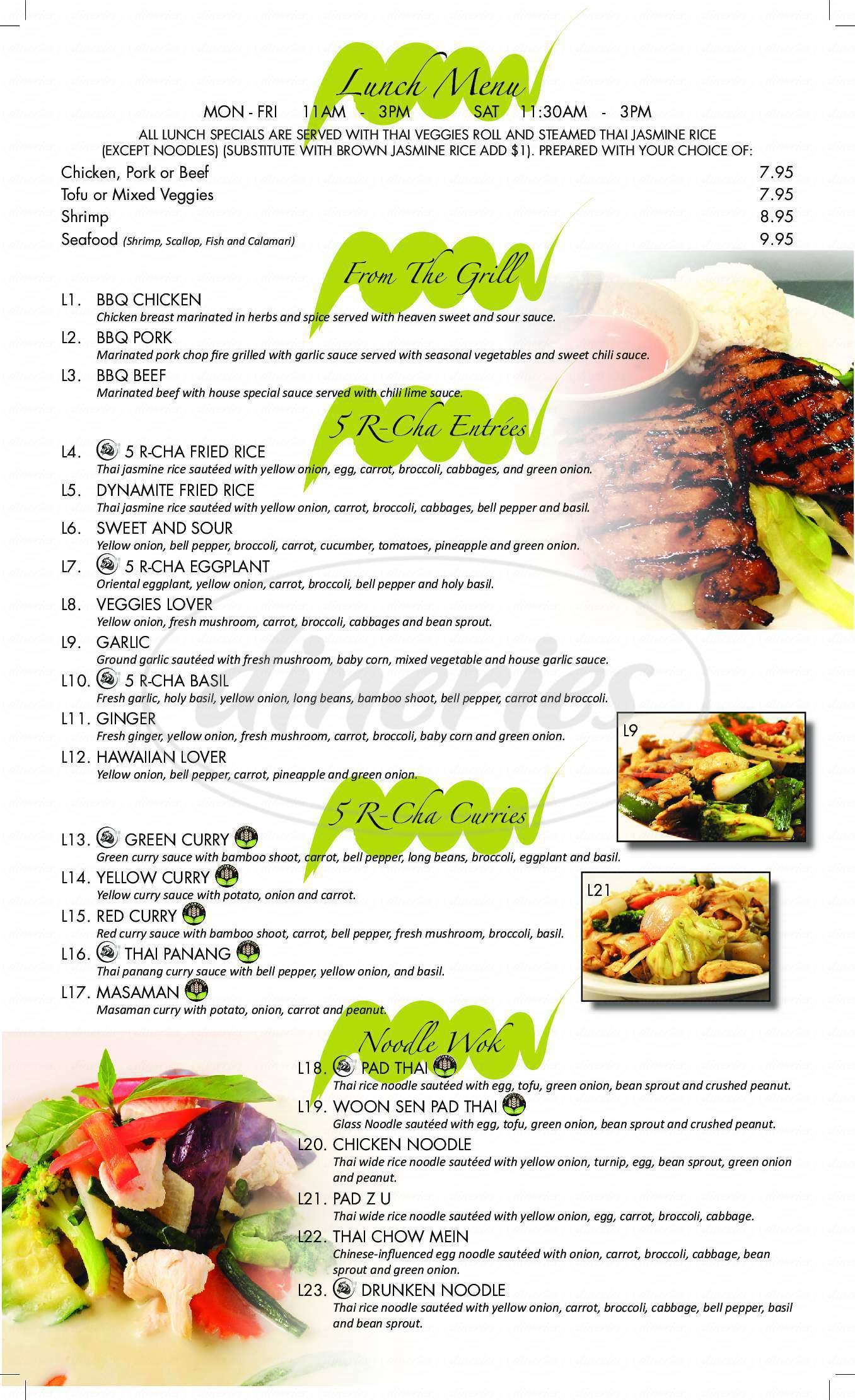 menu for 5 R Cha Thai Bistro