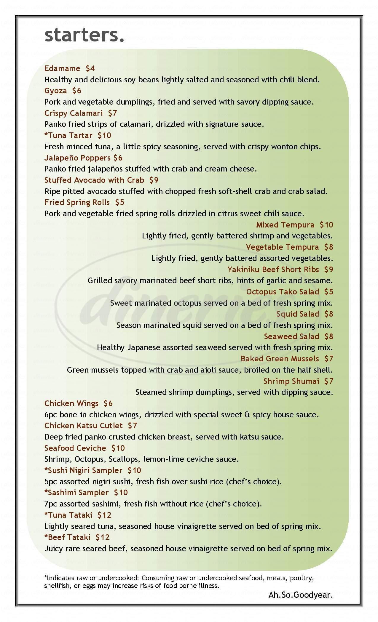 menu for Ah-So Sushi & Steak