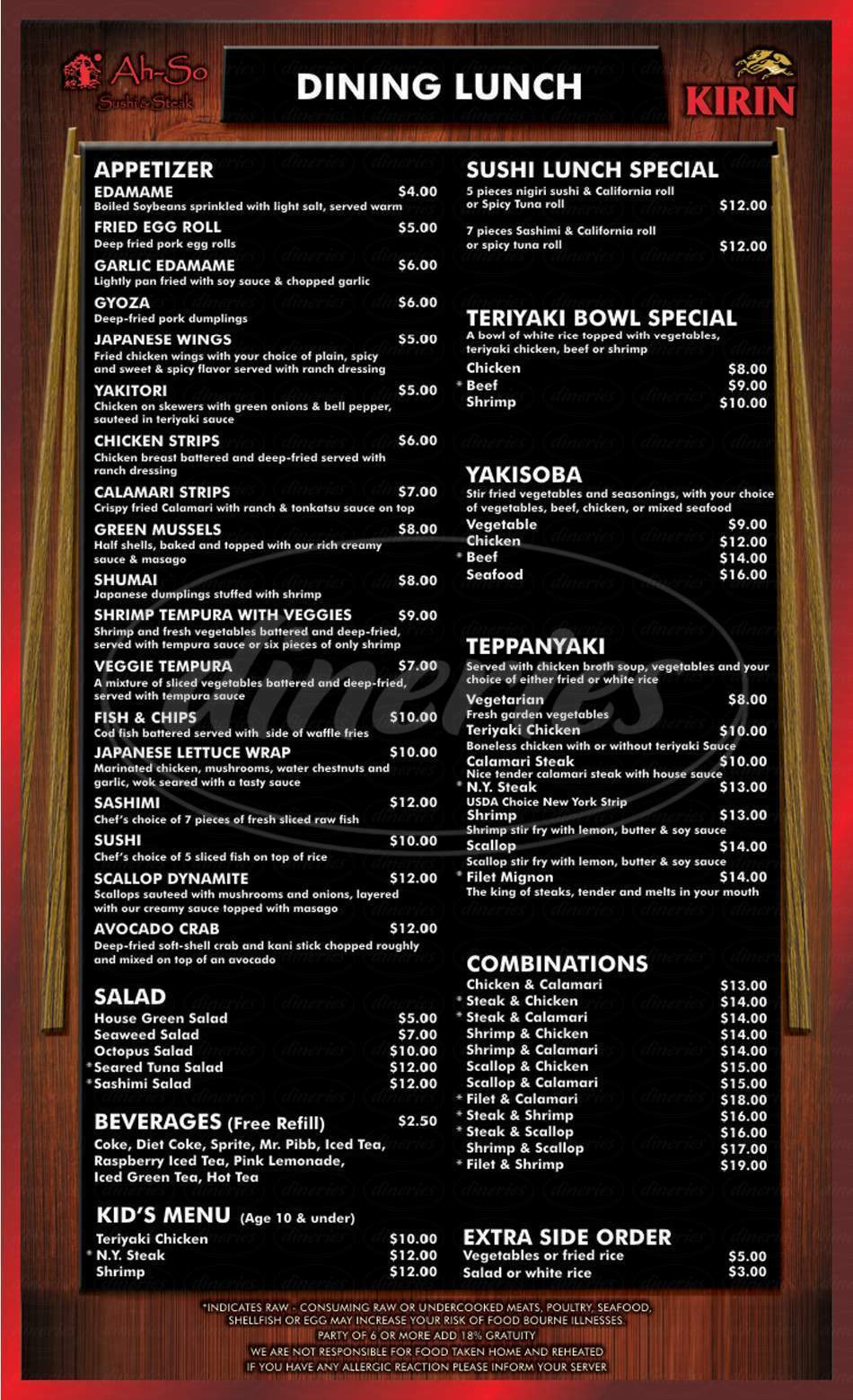 menu for Ah-So Sushi & Steak