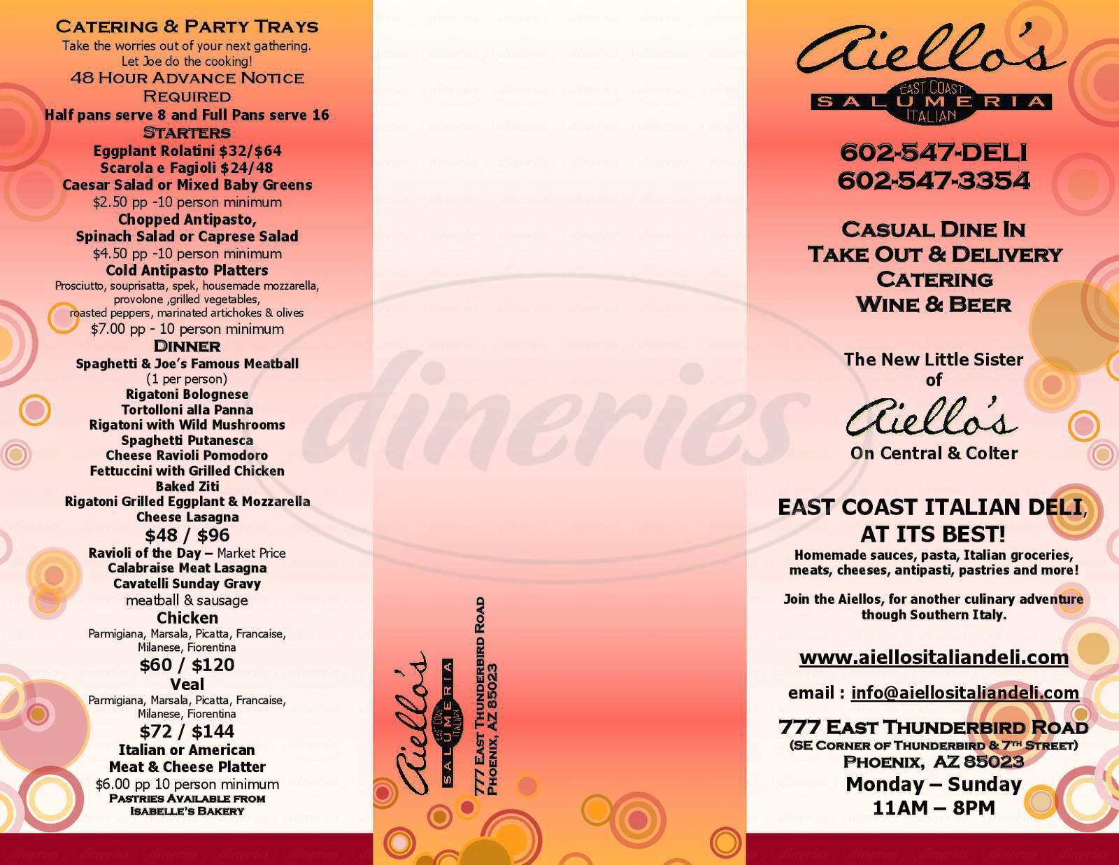 menu for Aiello's Salumeria