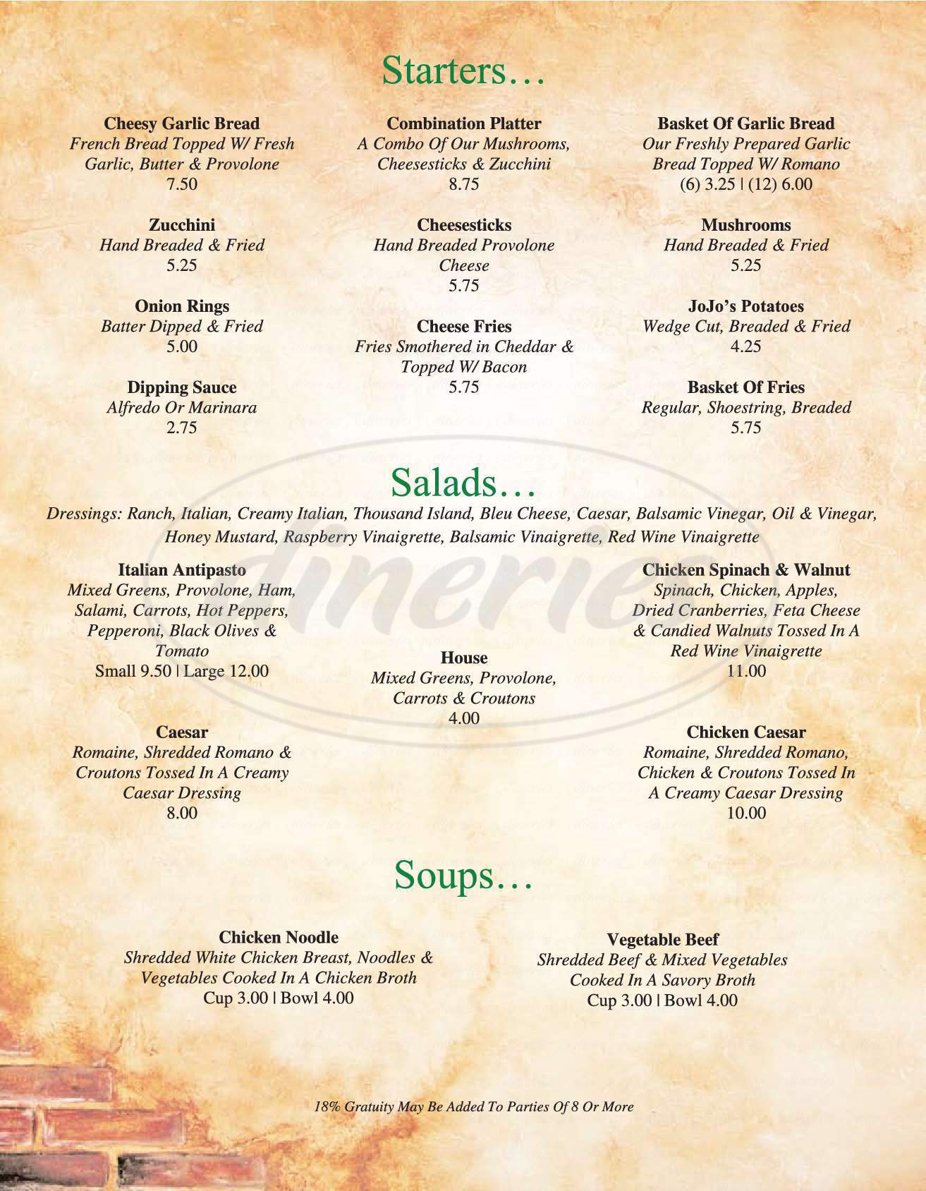 menu for Anzios Italian Restaurant