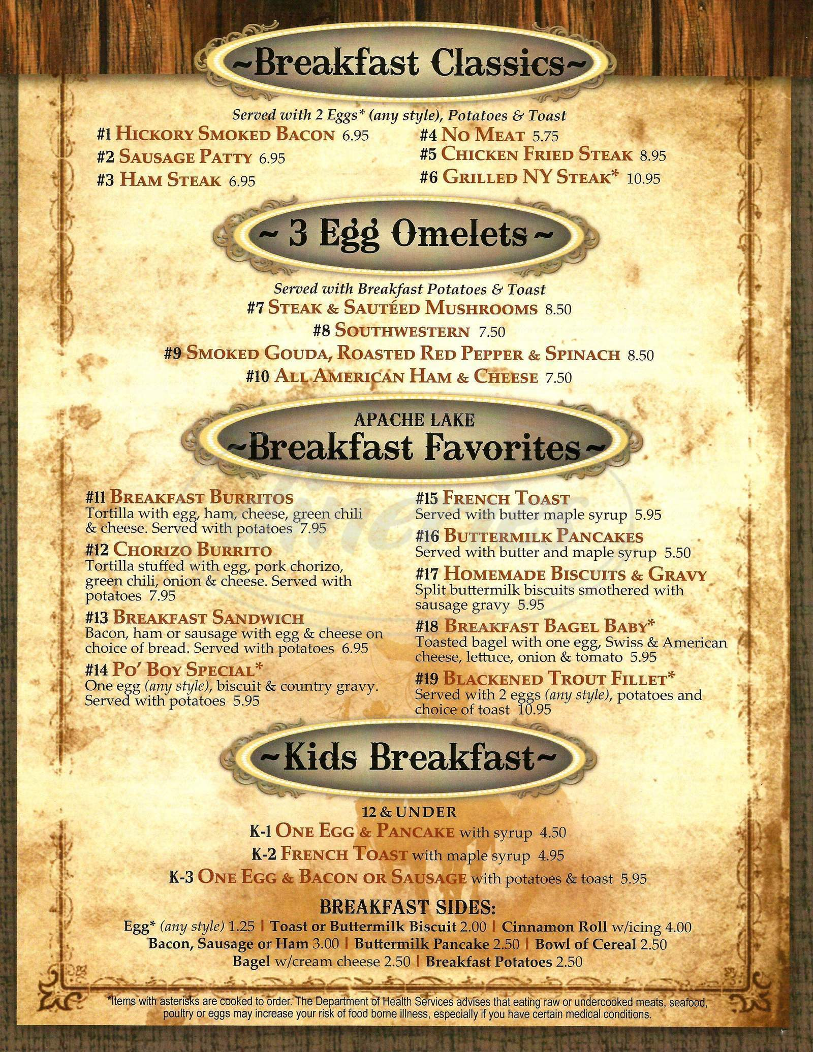 menu for Apache Lake Resort