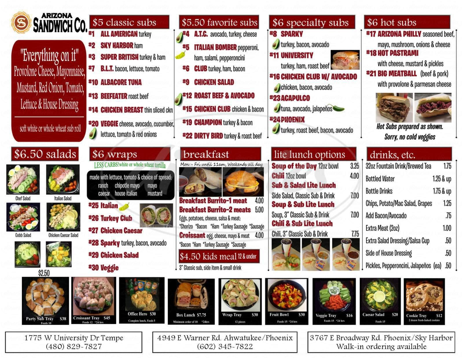 menu for Arizona Sandwich Co