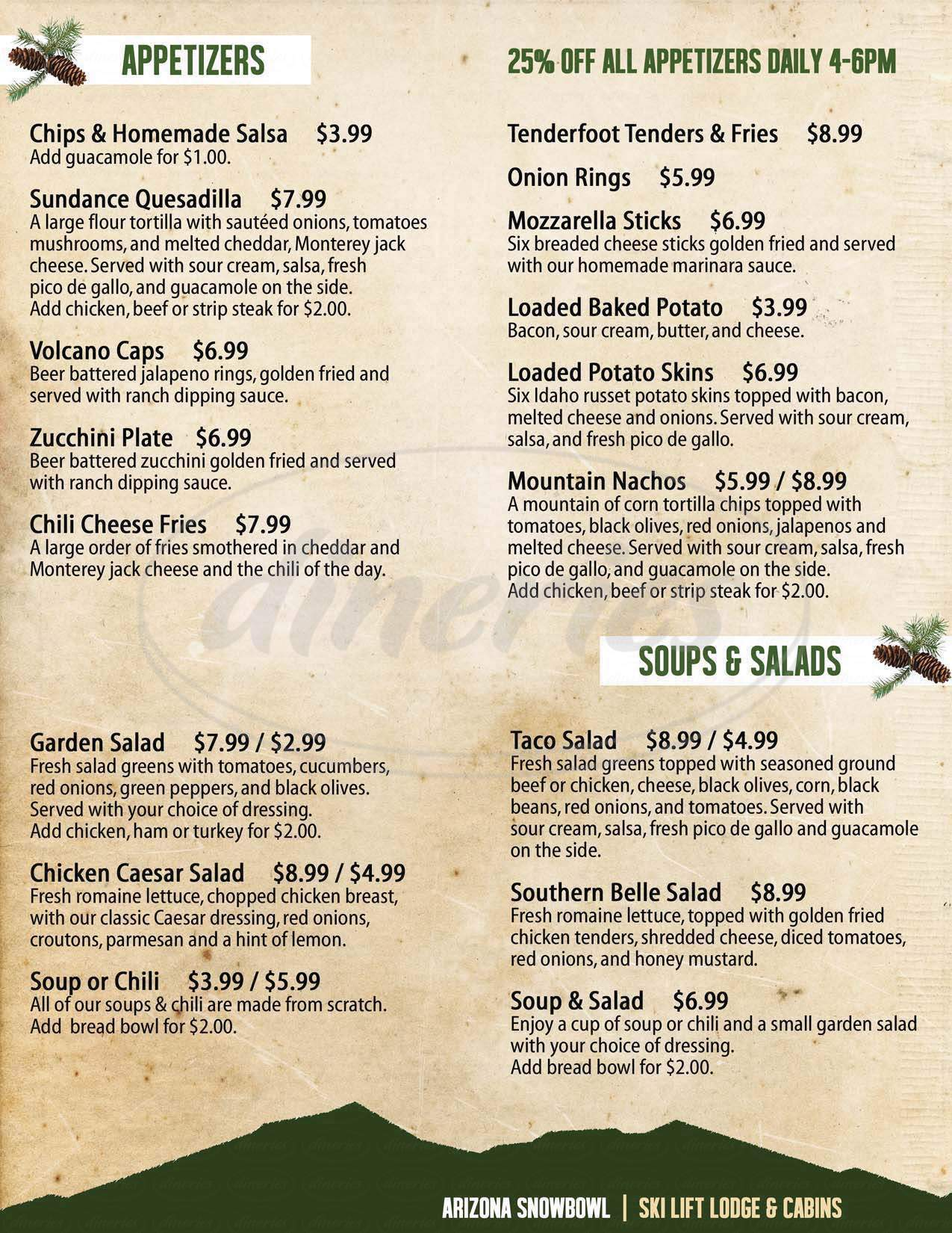 menu for Ski Lift Lodge Cabins and Restaurant