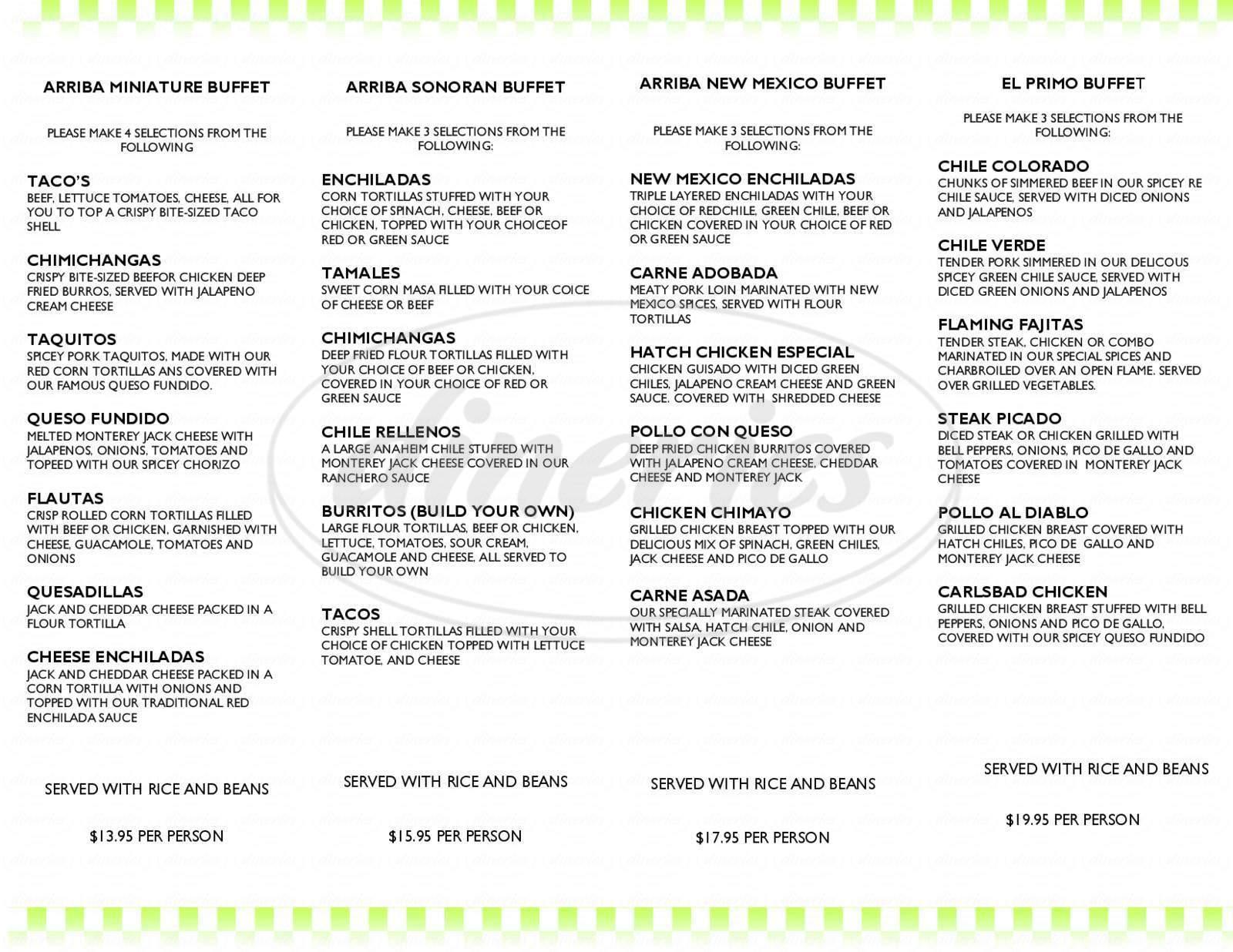 menu for Arriba Mexican Grill