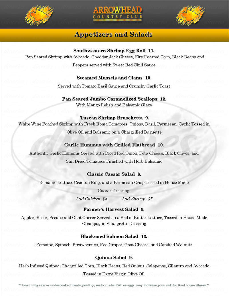 menu for Arrowhead Country Club