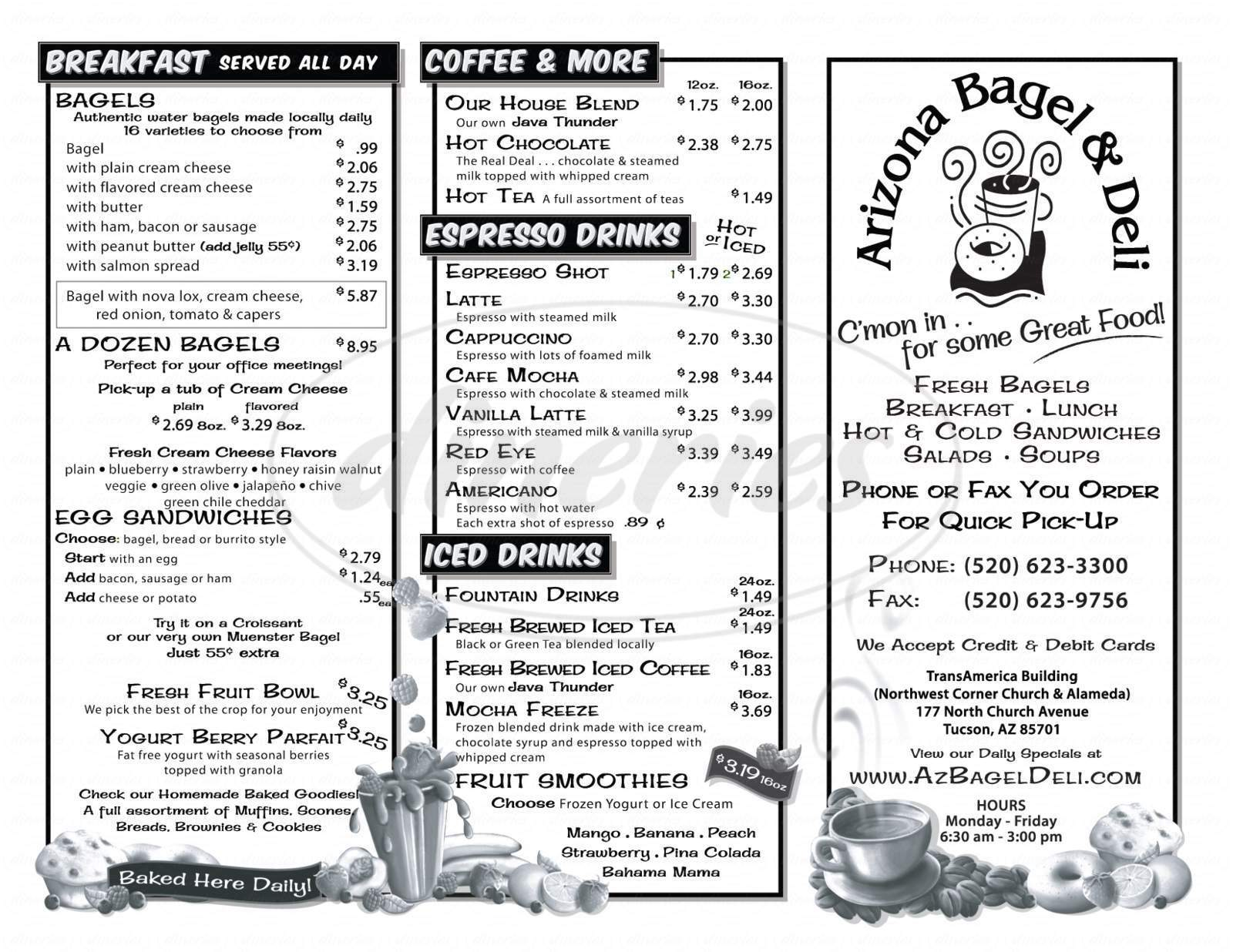 menu for Arizona Bagel & Deli