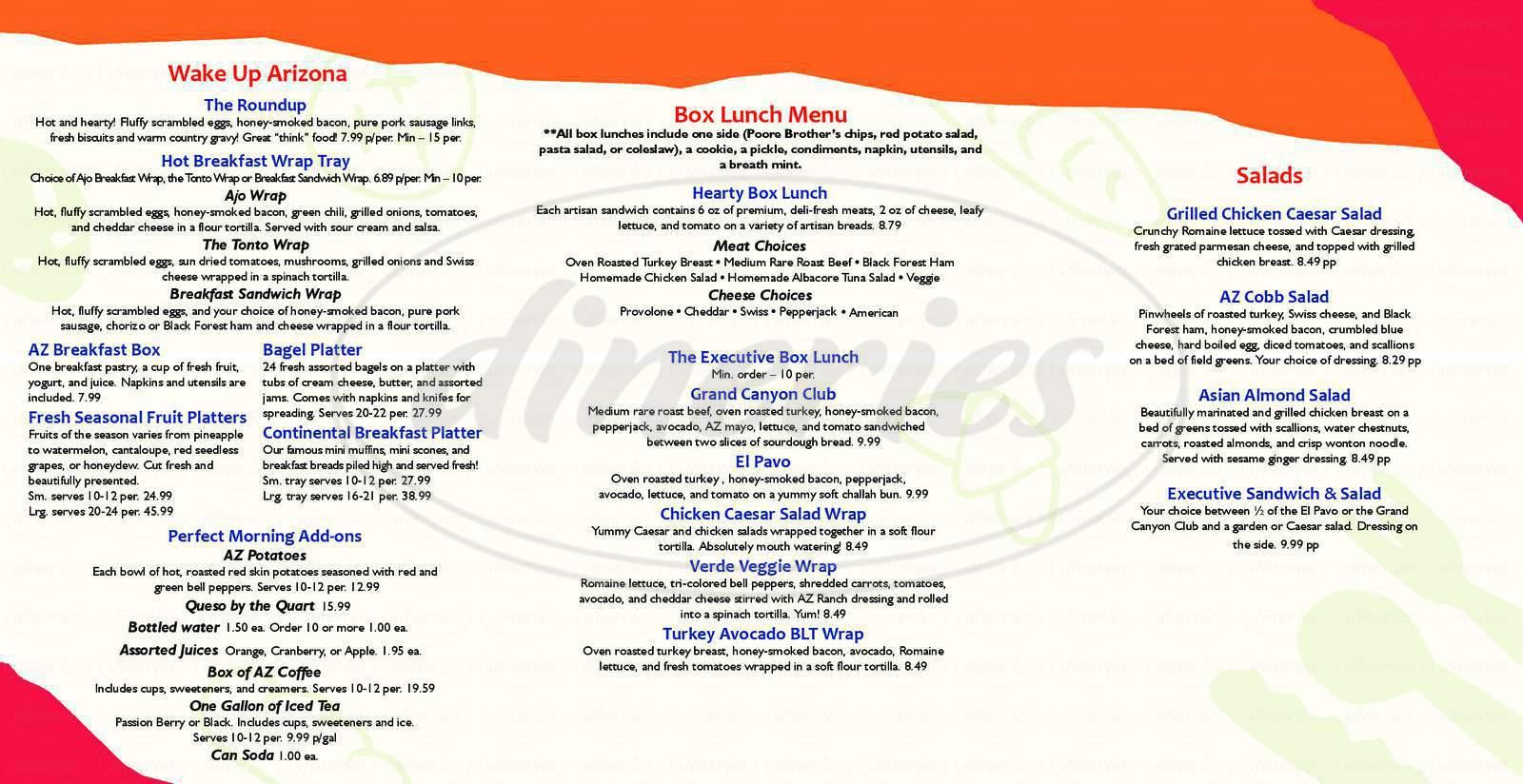 menu for AZ Bread Company