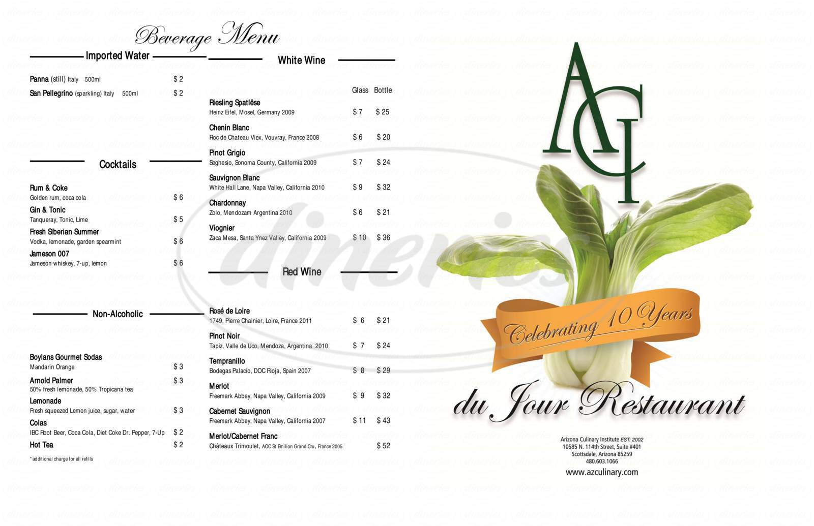 menu for Du Jour Restaurant