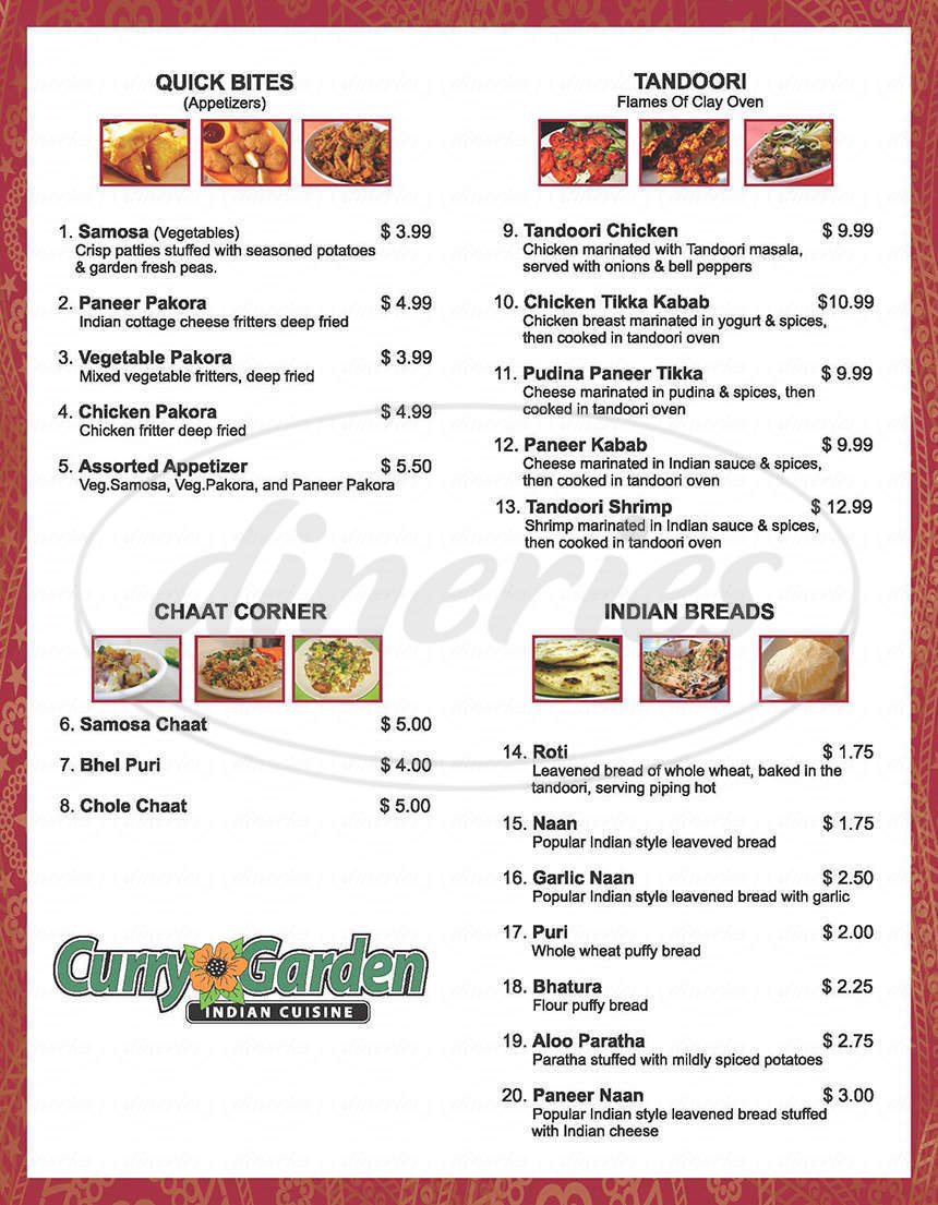 menu for Curry Garden