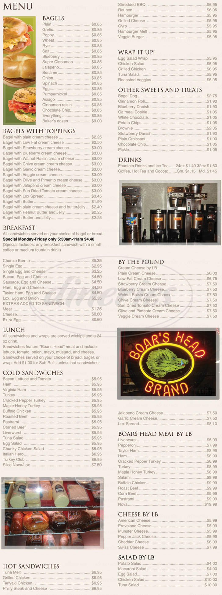 menu for Hot Bagels and Deli