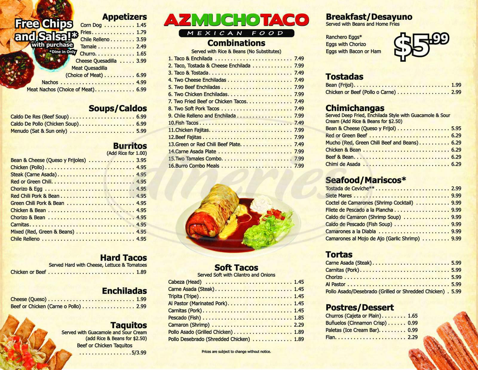 menu for Mucho Taco