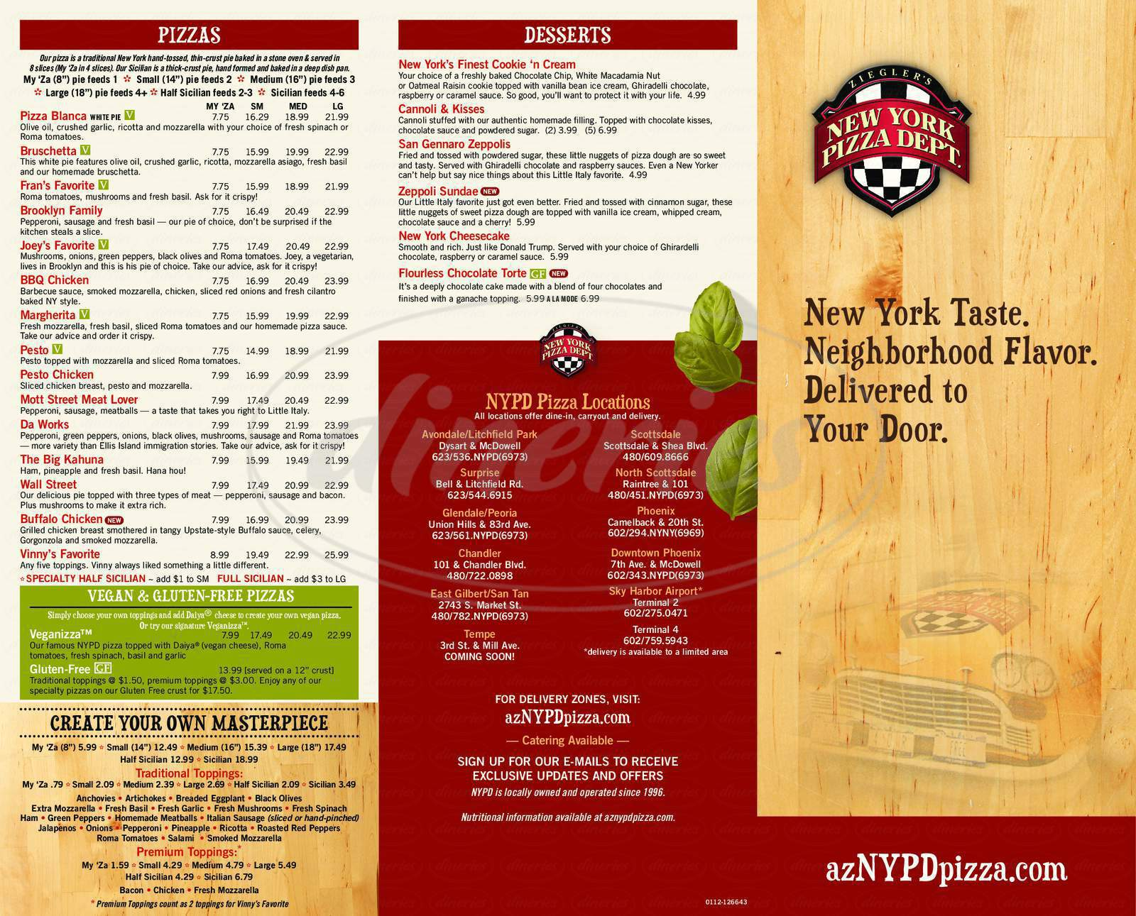 menu for NYPD Pizza
