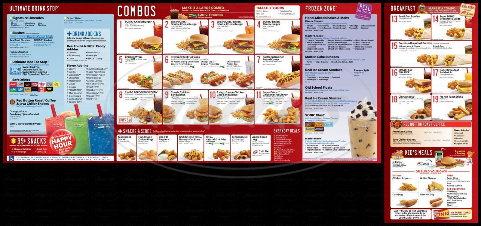 menu for Sonic Drive-In
