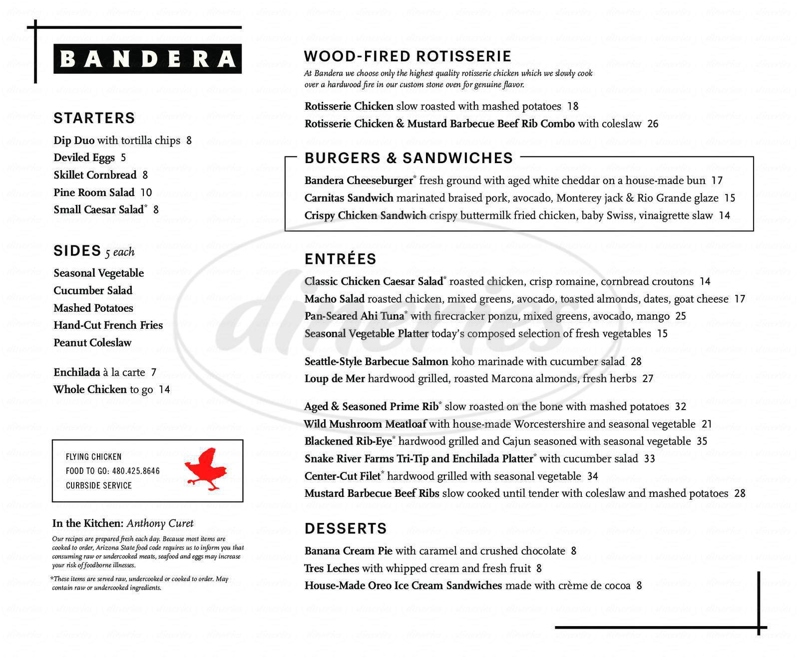 menu for Bandera