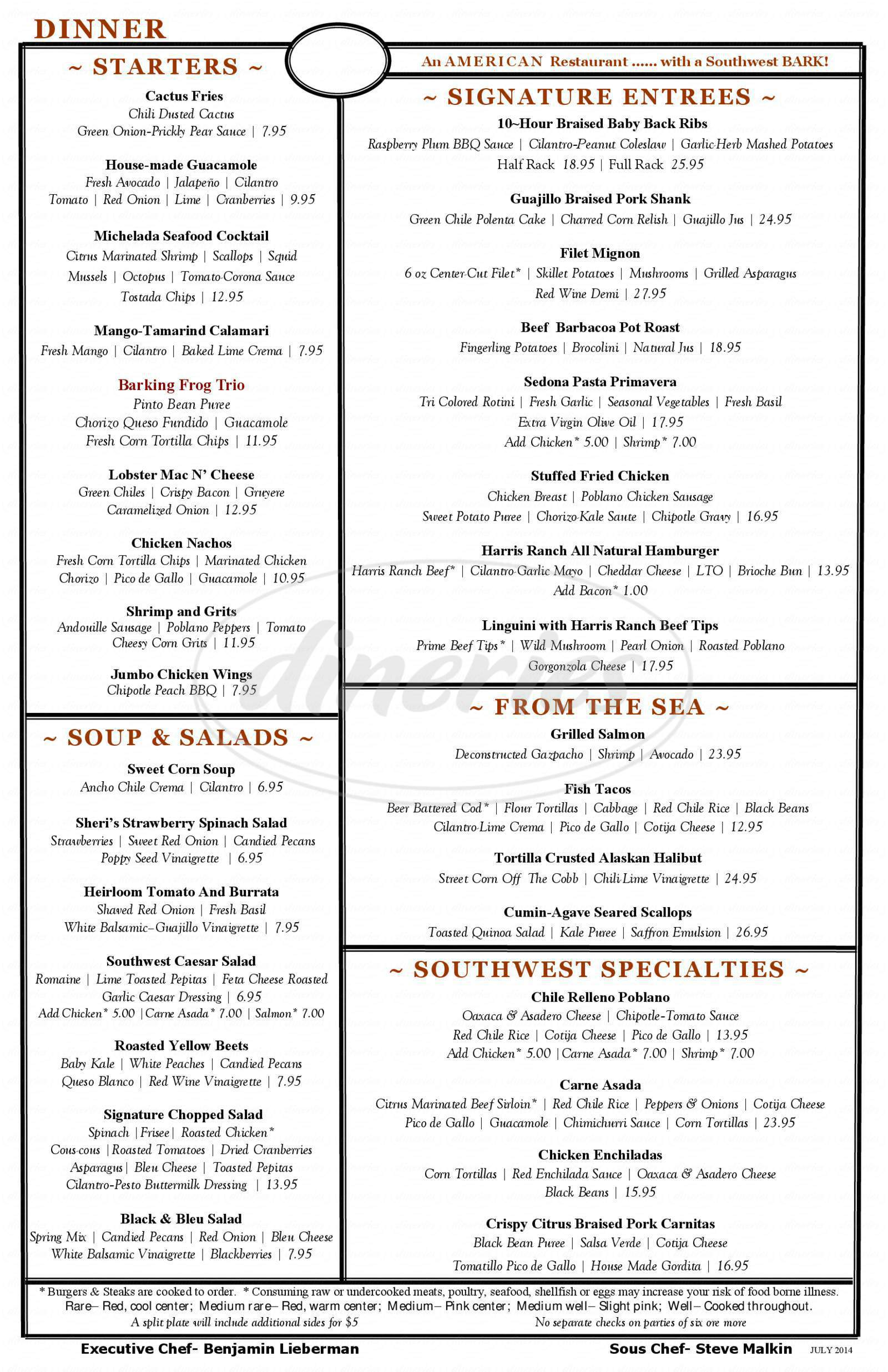 menu for Barking Frog Grille