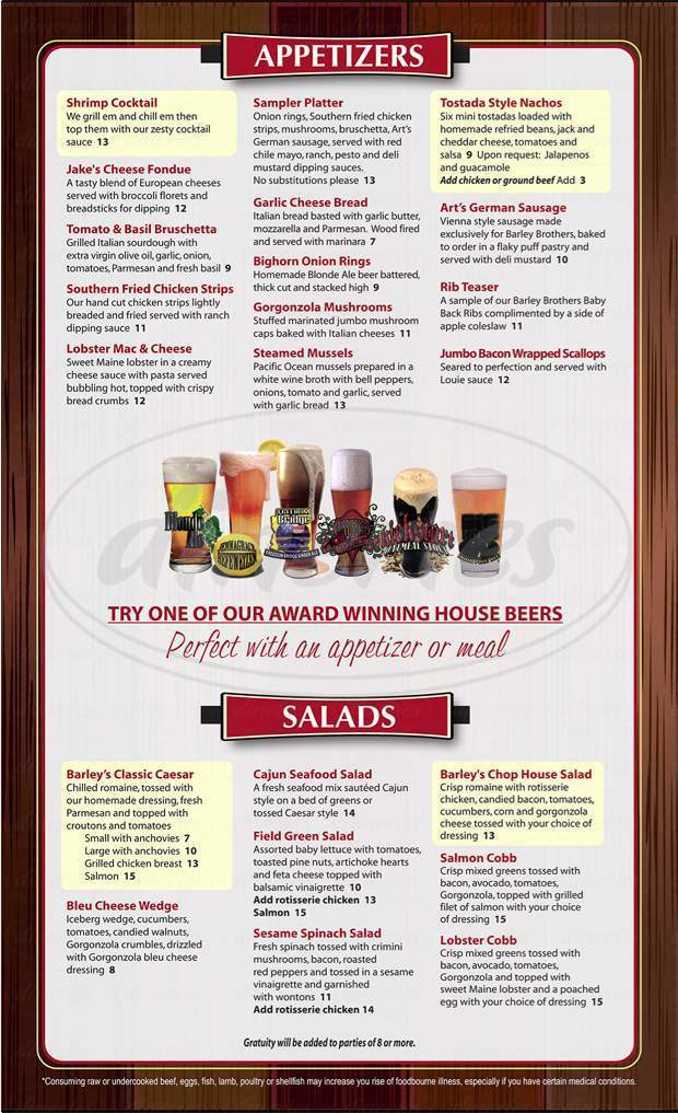 menu for Barley Bros Brewery