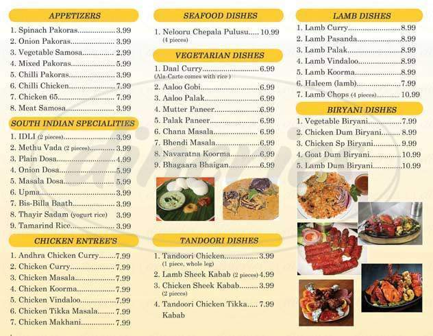 menu for Bawarchi Indian Cuisine