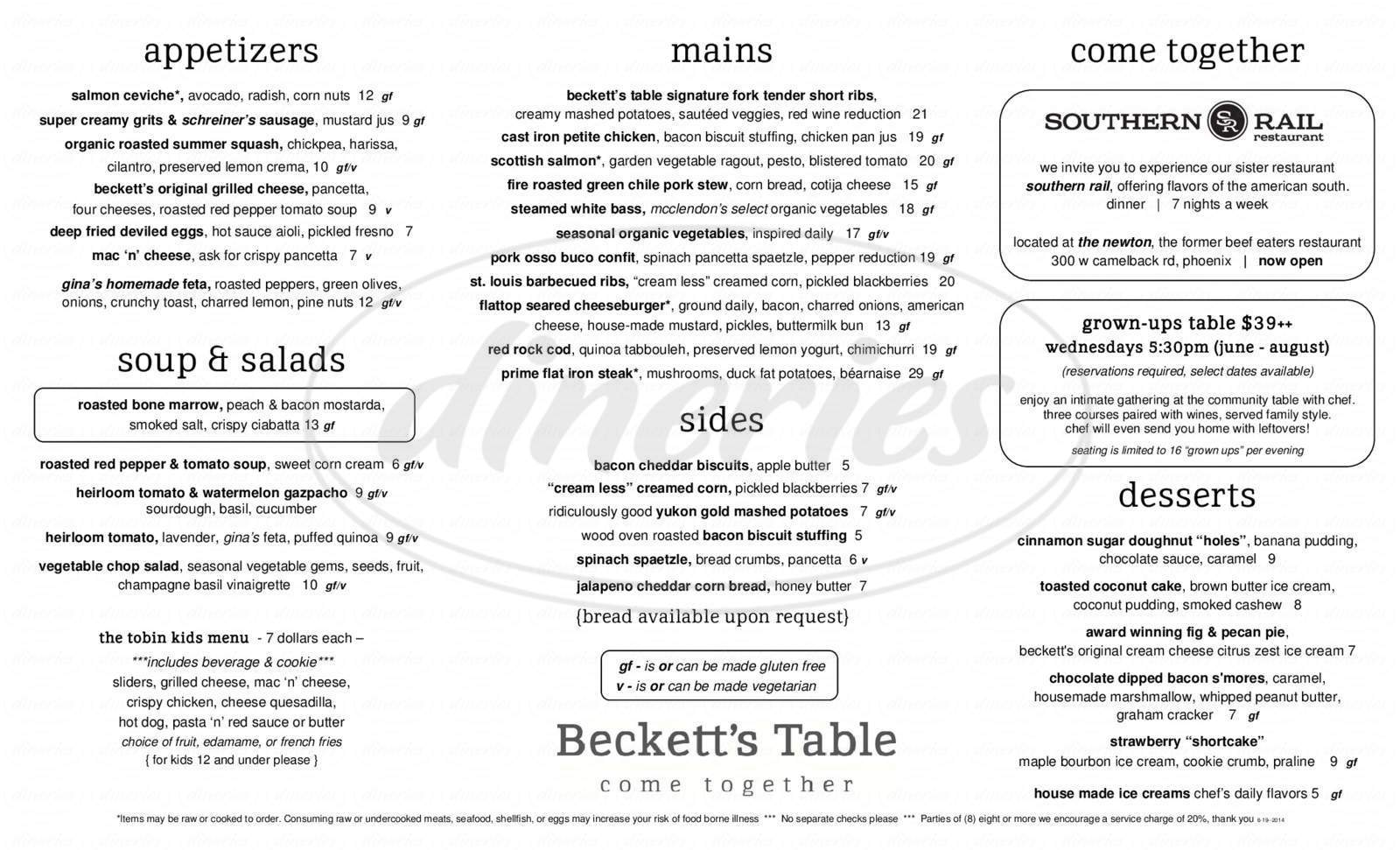 menu for Beckett's Table