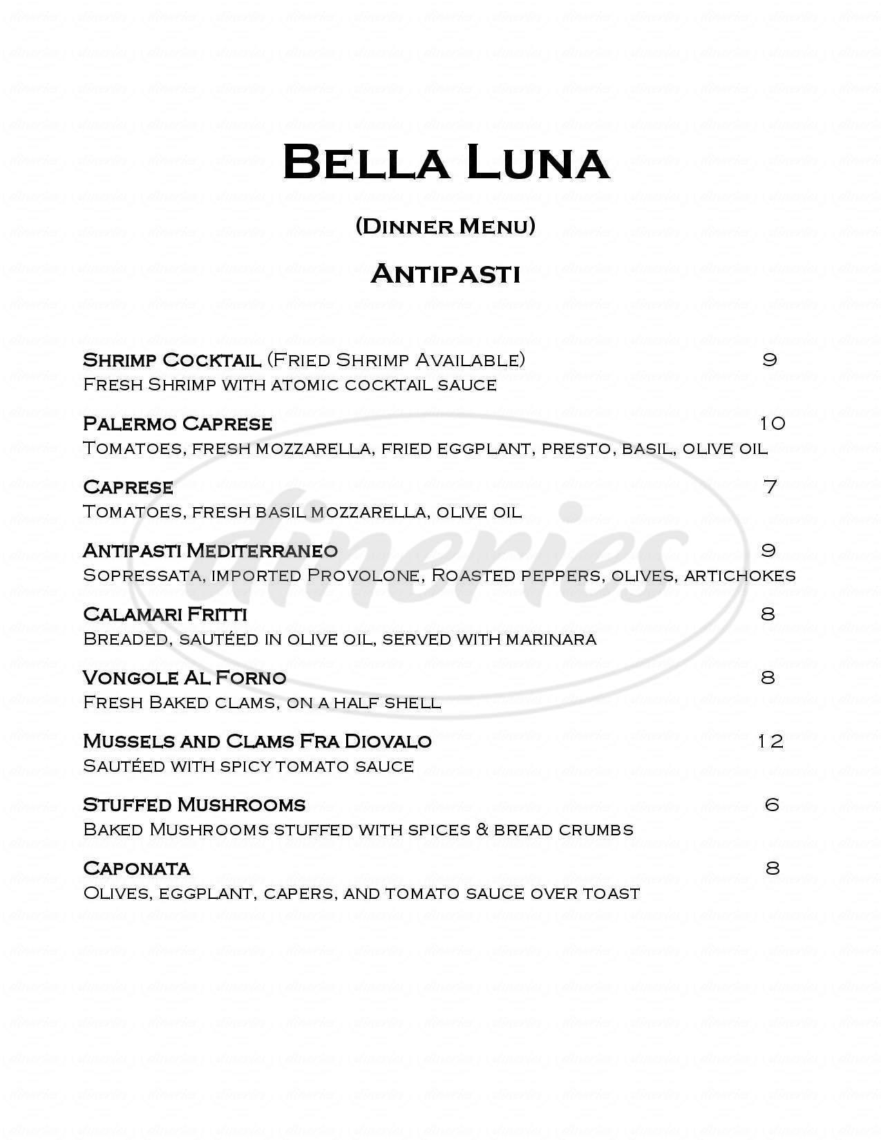 menu for Bella Luna Ristorante