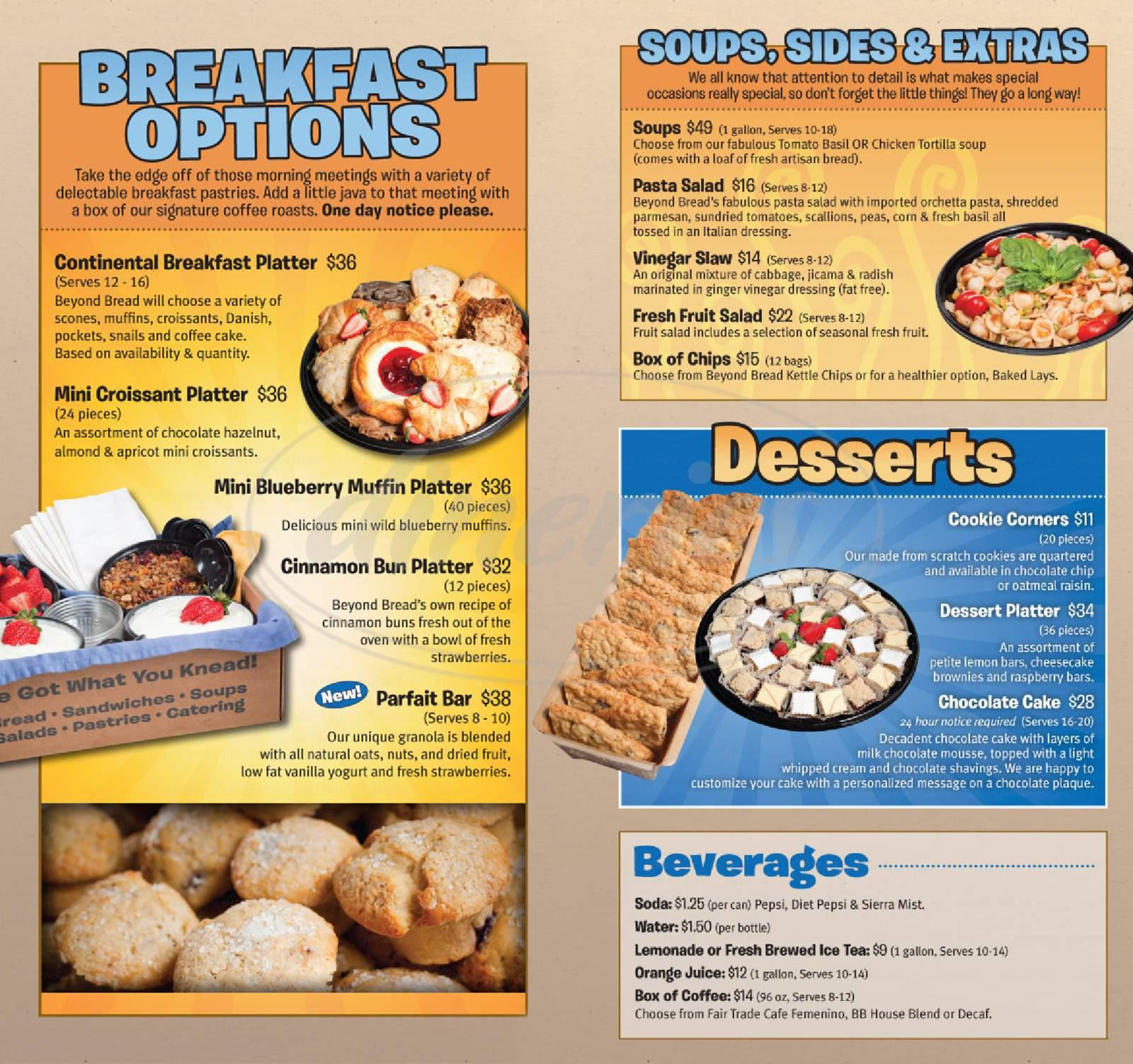 menu for Beyond Bread