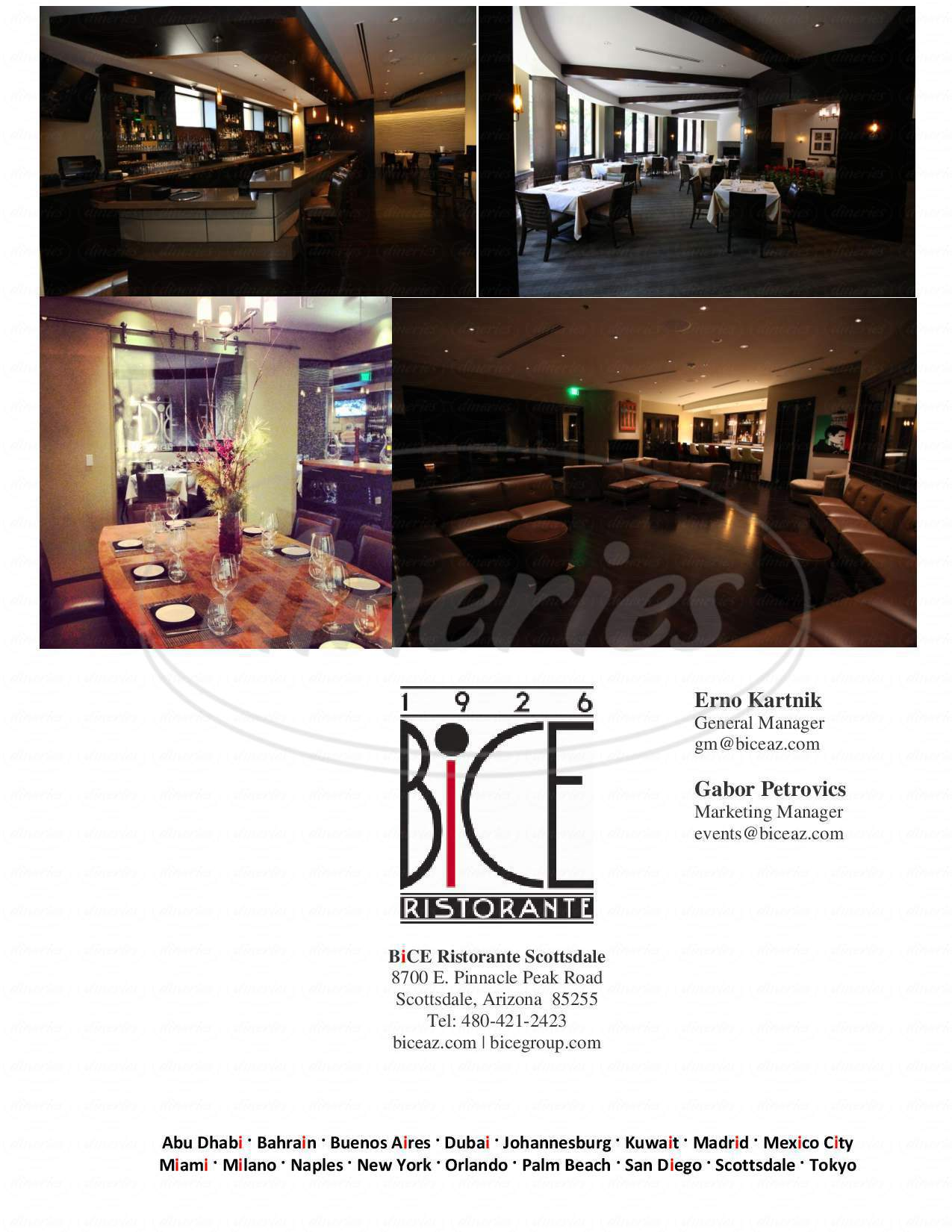 menu for BiCE Ristorante