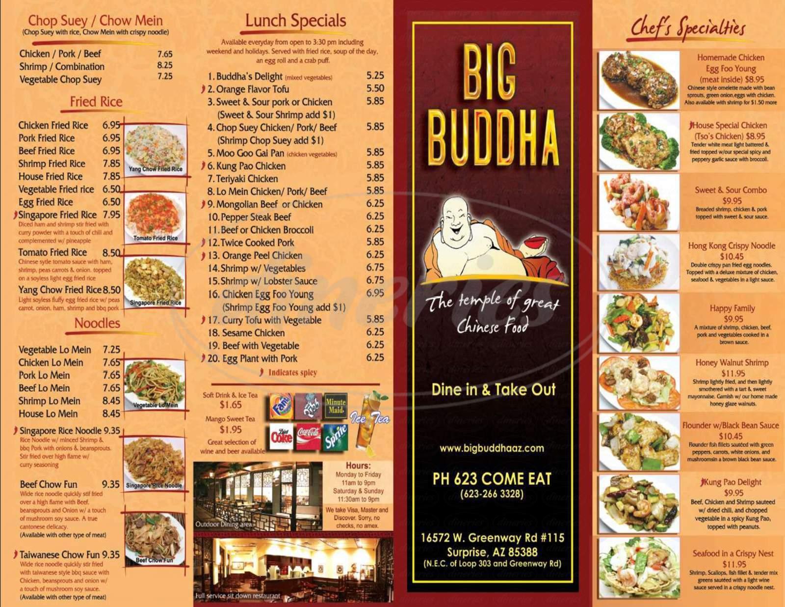 menu for Big Buddha