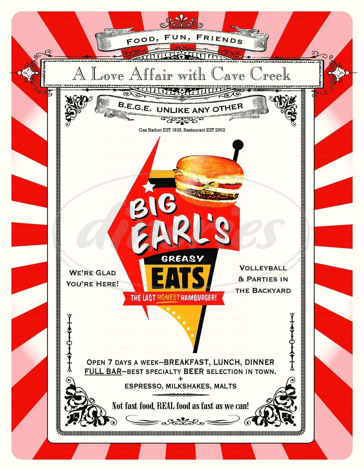 menu for Big Earl's Greasy Eats