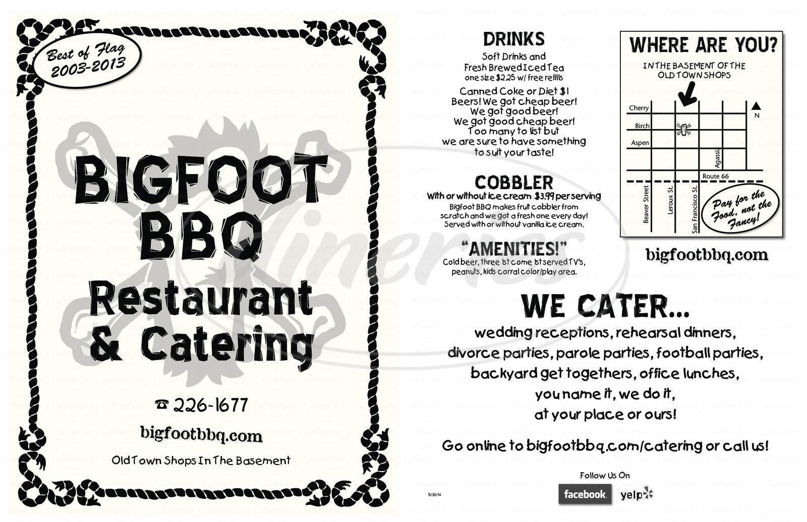 menu for Bigfoot BBQ