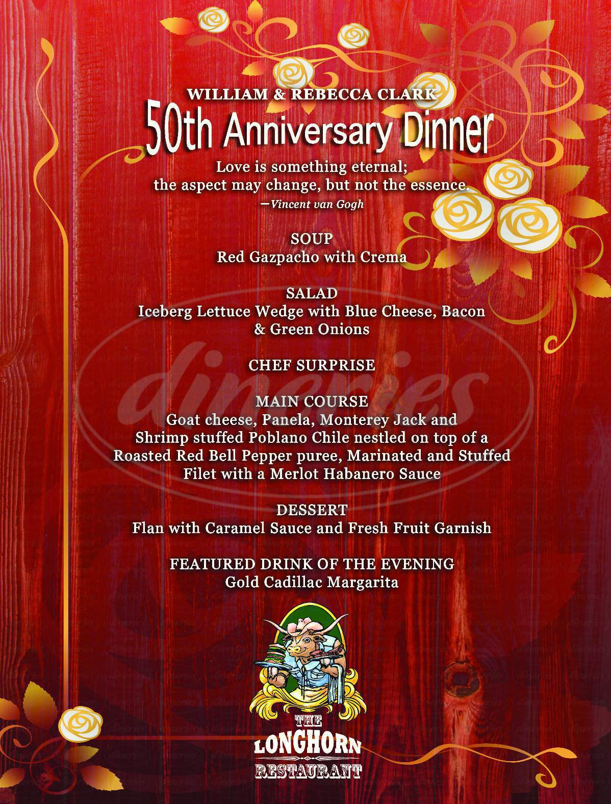 menu for The Longhorn Restaurant