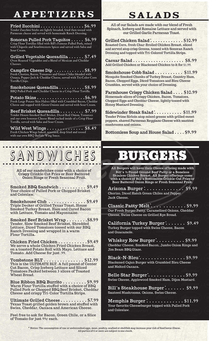 menu for Bill Johnsons Big Apple