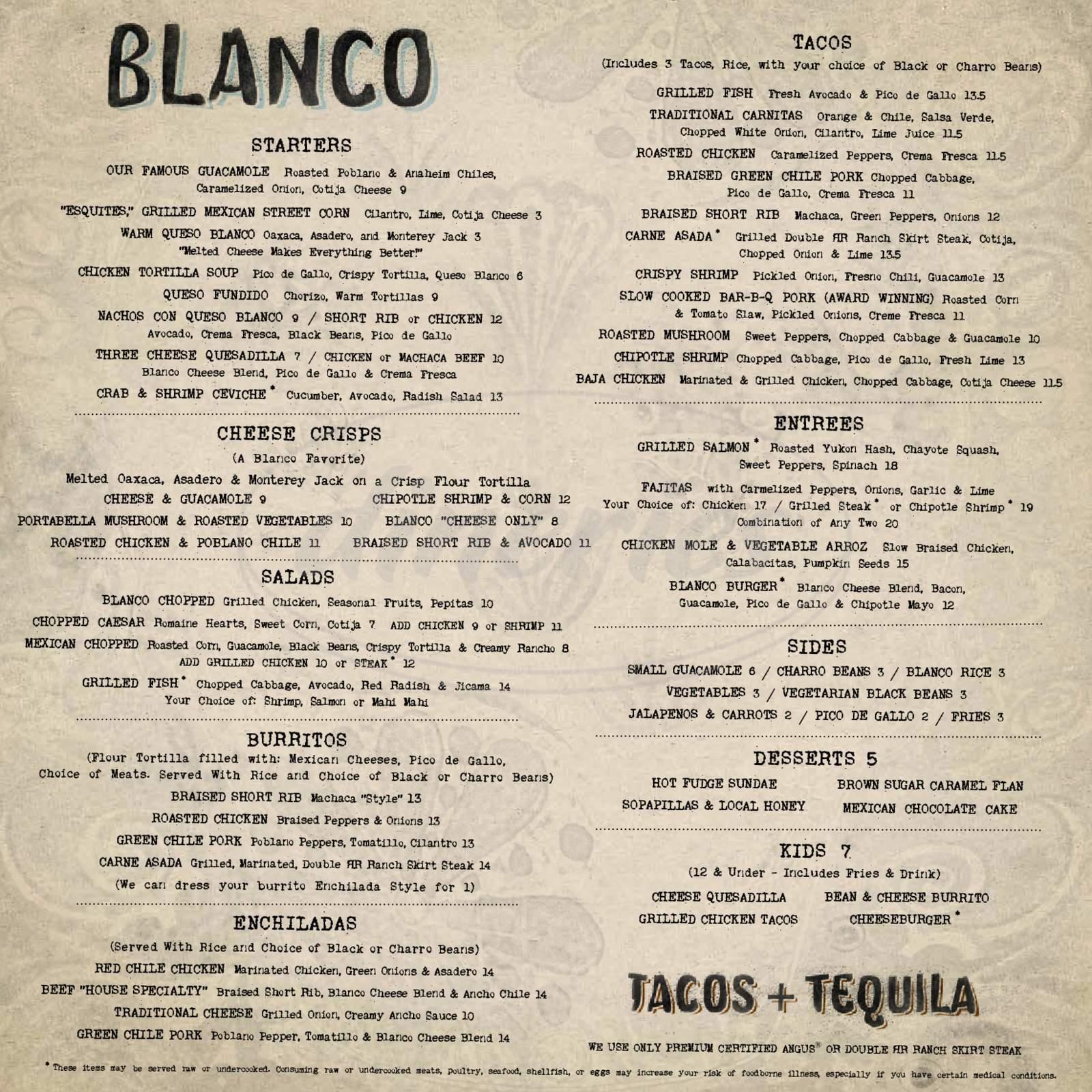 menu for Blanco
