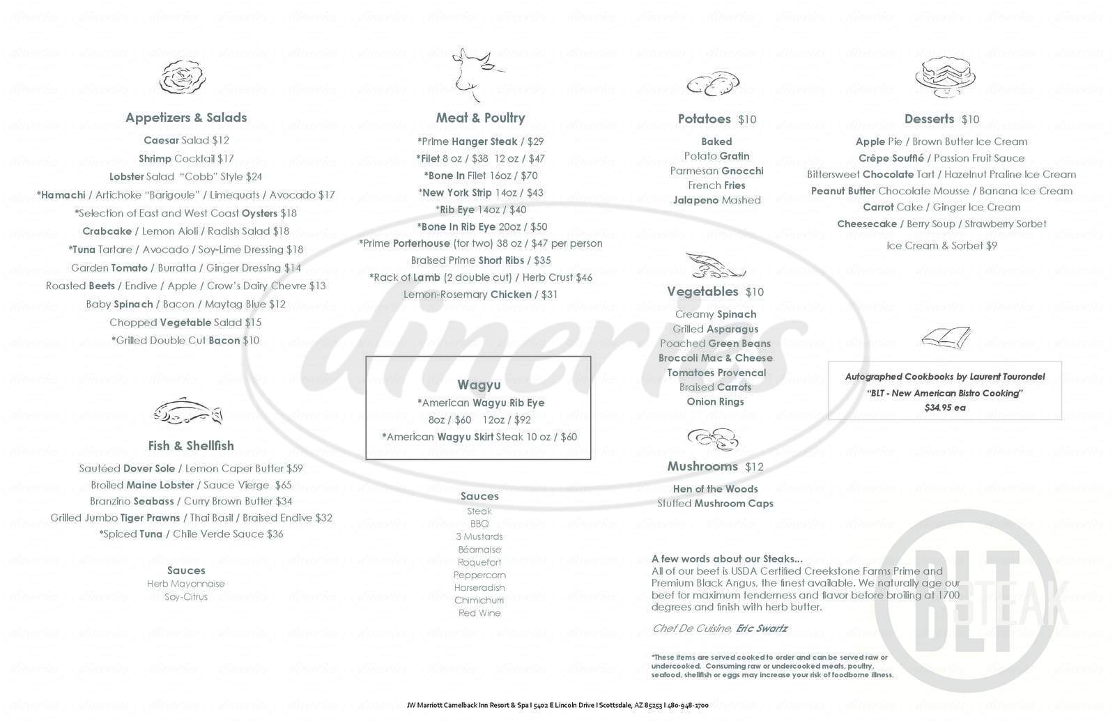 menu for BLT Steak